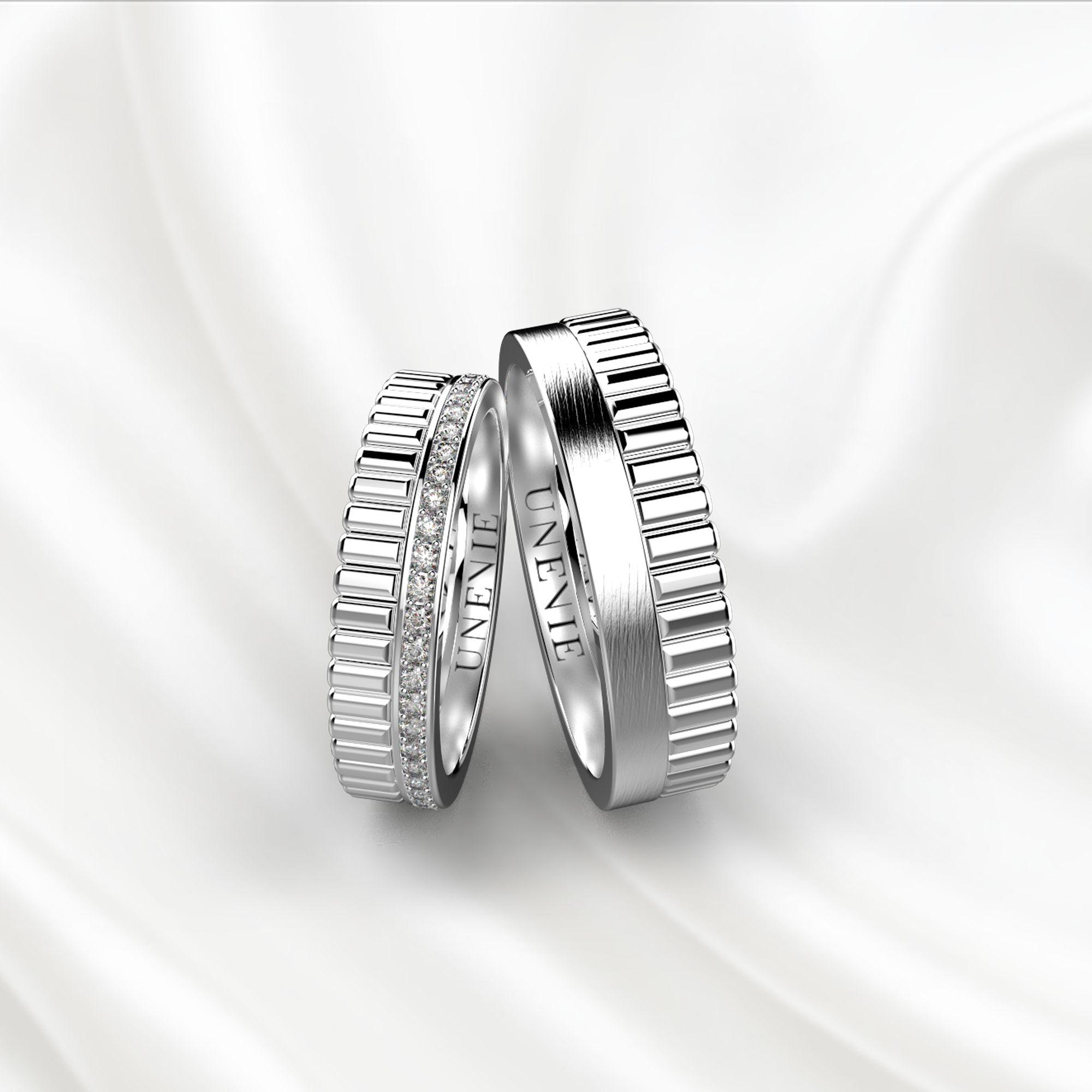 NV24 Обручальные кольца из белого золота с бриллиантами