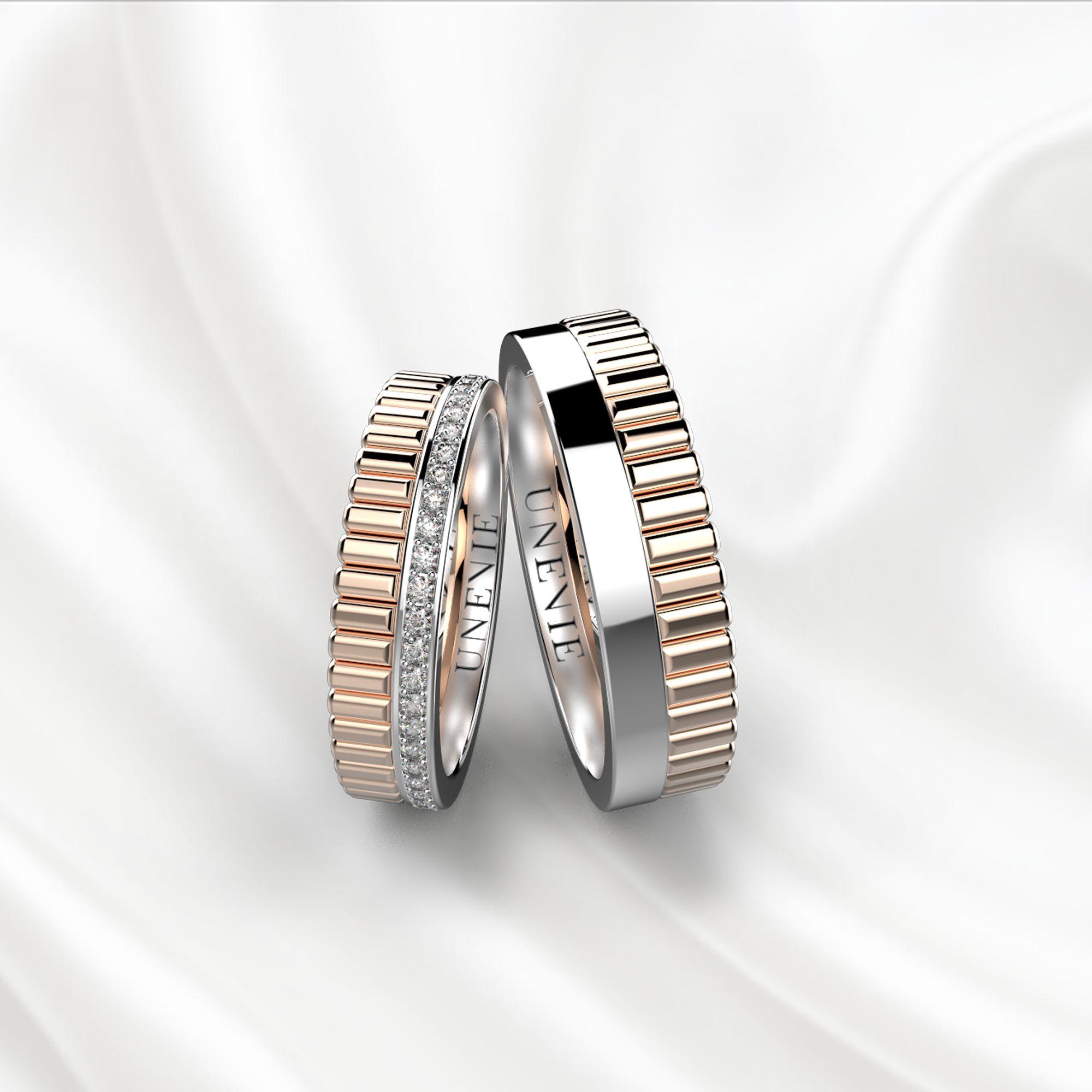 NV24 Обручальные кольца из розово-белого золота с бриллиантами