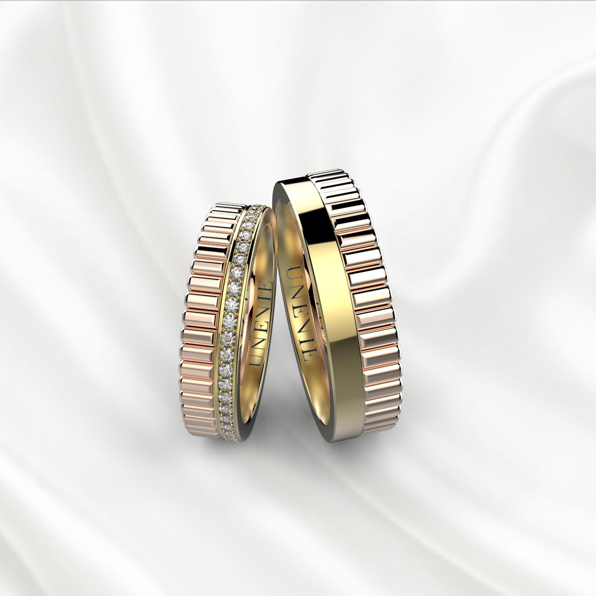 NV24 Обручальные кольца из розово-жёлтого золота с бриллиантами