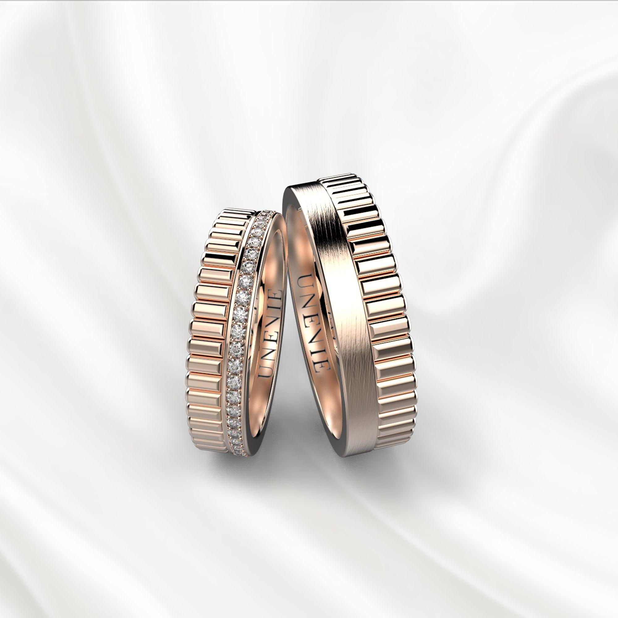 NV24 Обручальные кольца из розового золота с бриллиантами