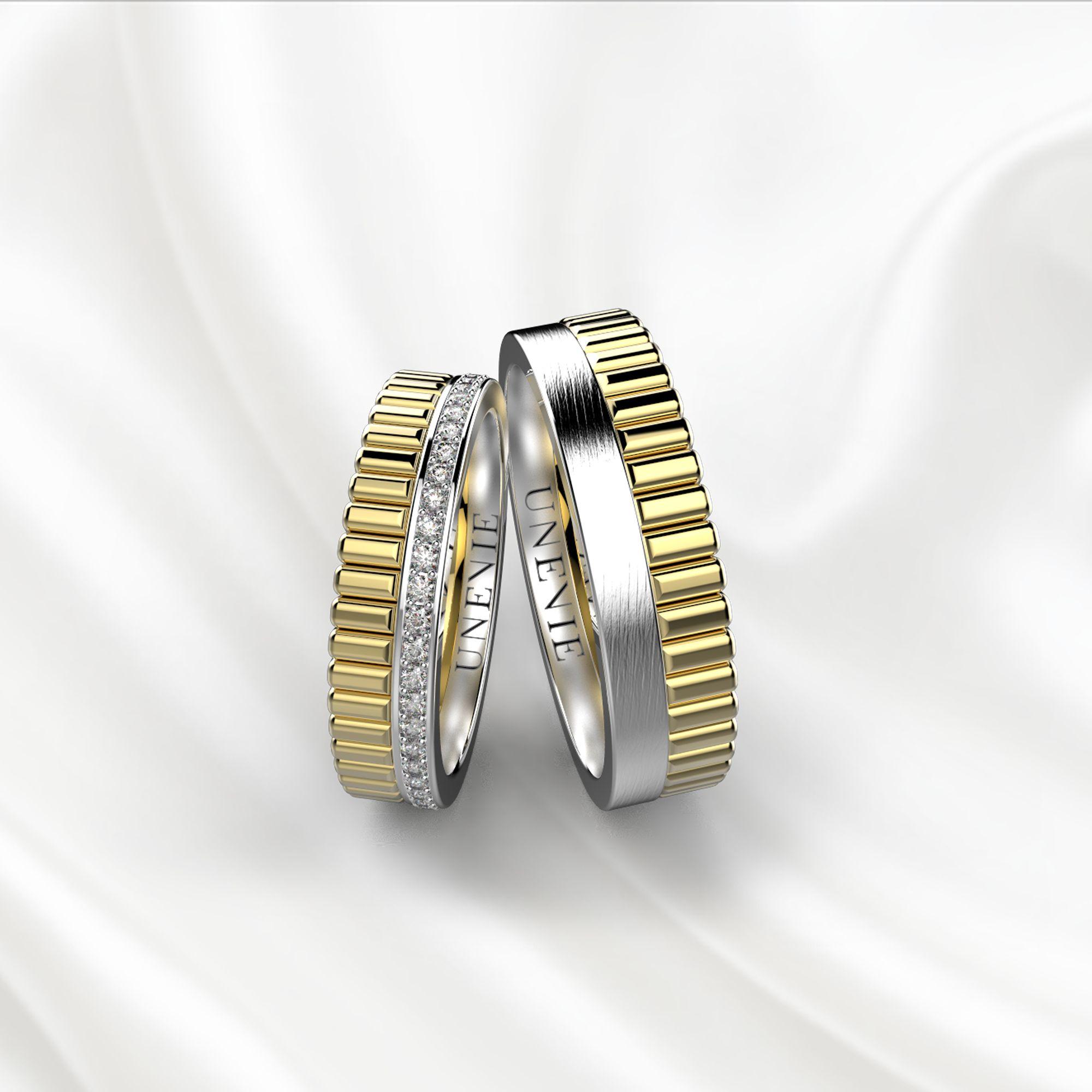 NV24 Обручальные кольца из жёлто-белого золота с бриллиантами