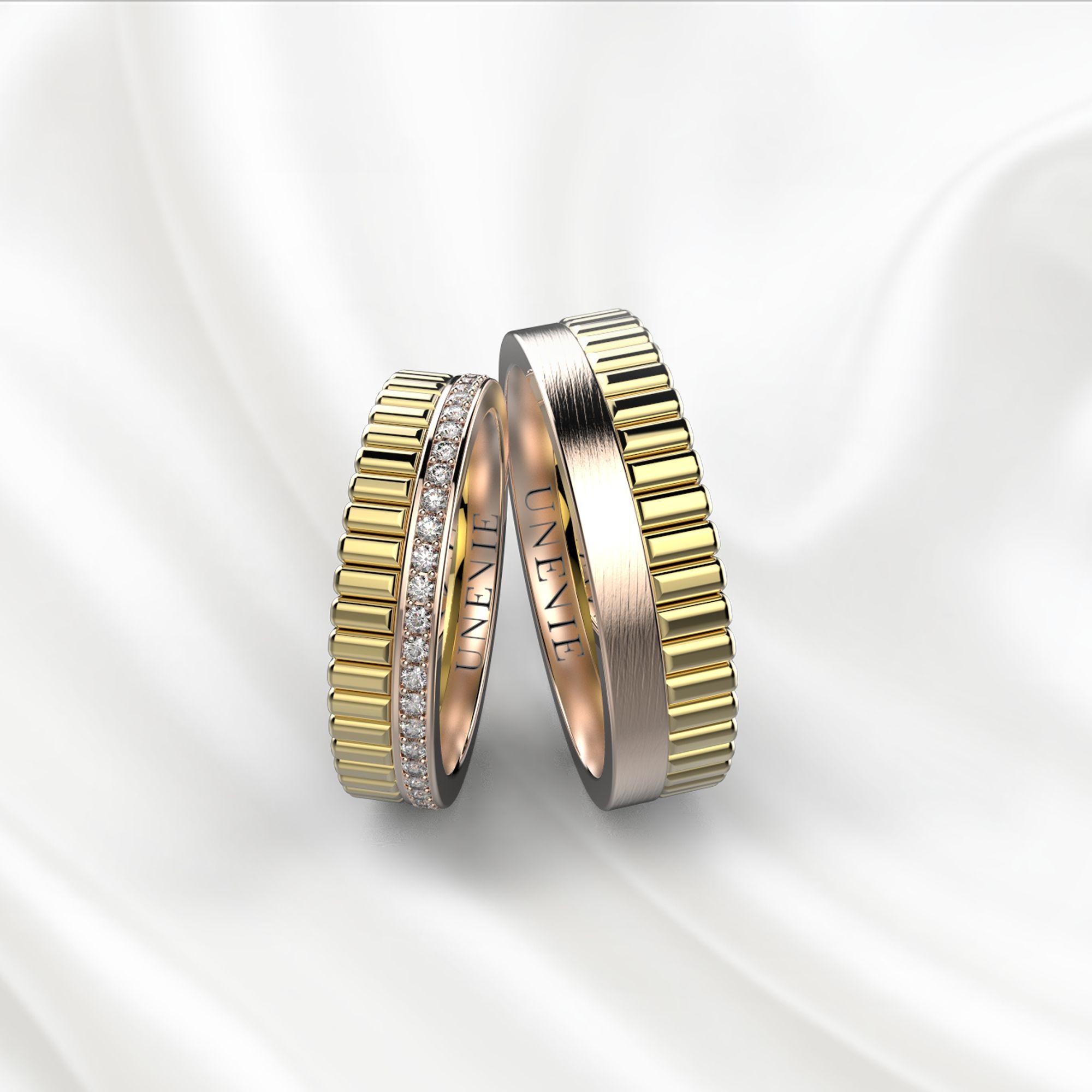 NV24 Обручальные кольца из жёлто-розового золота с бриллиантами