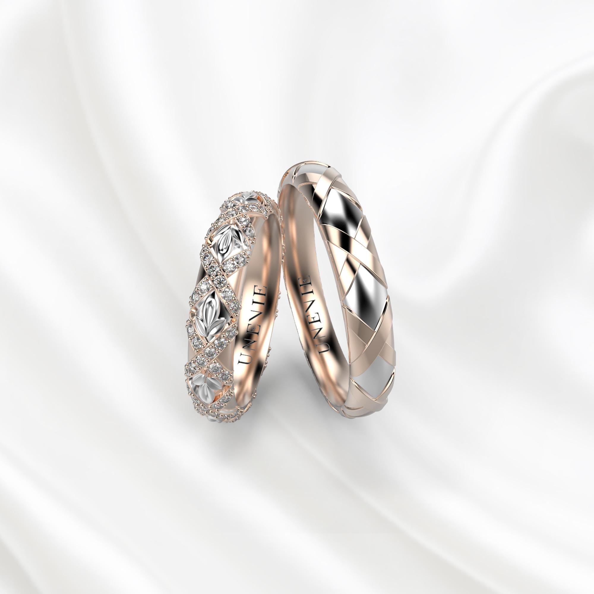 NV27 Обручальные кольца из розово-белого золота с бриллиантами