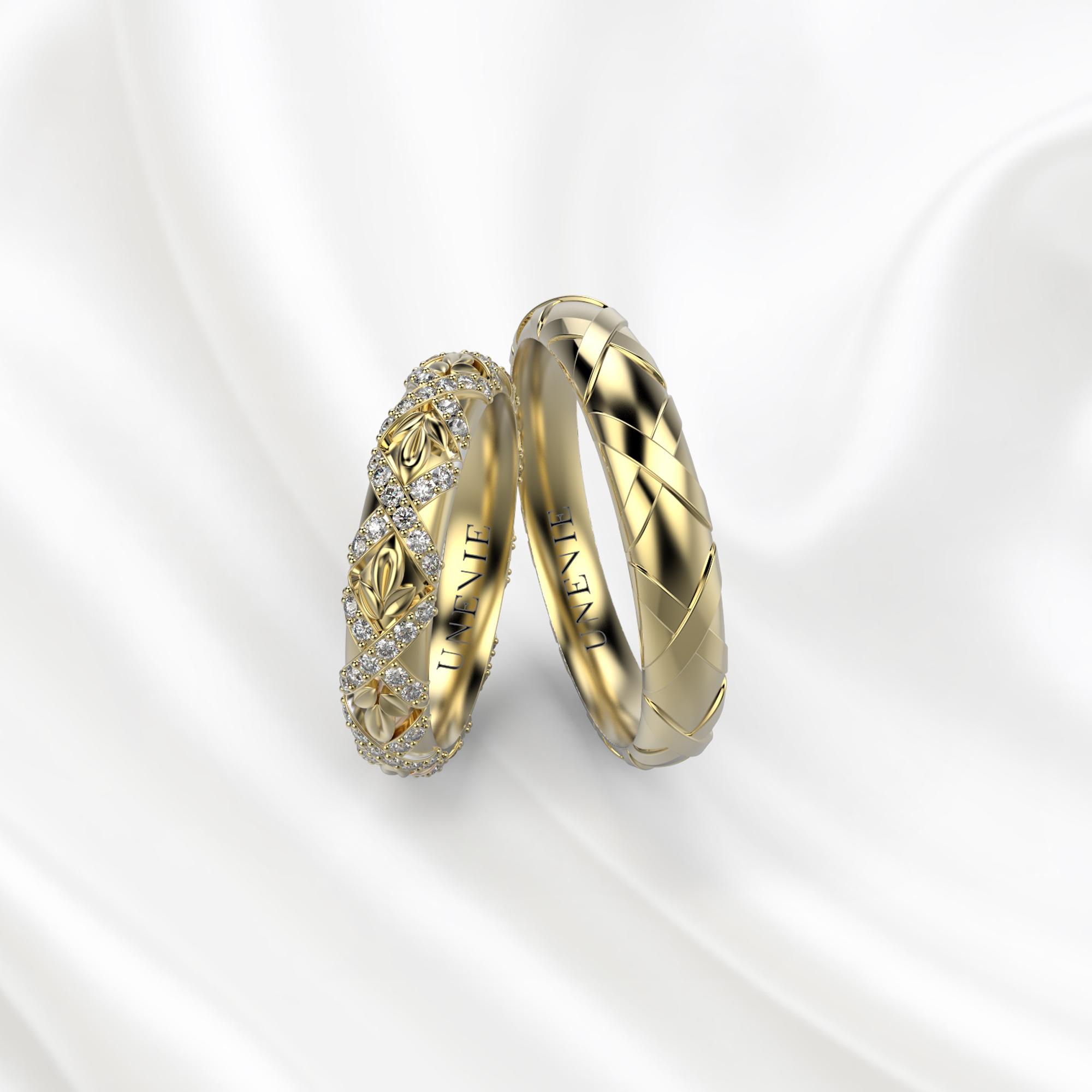 NV27 Обручальные кольца из желтого золота с бриллиантами