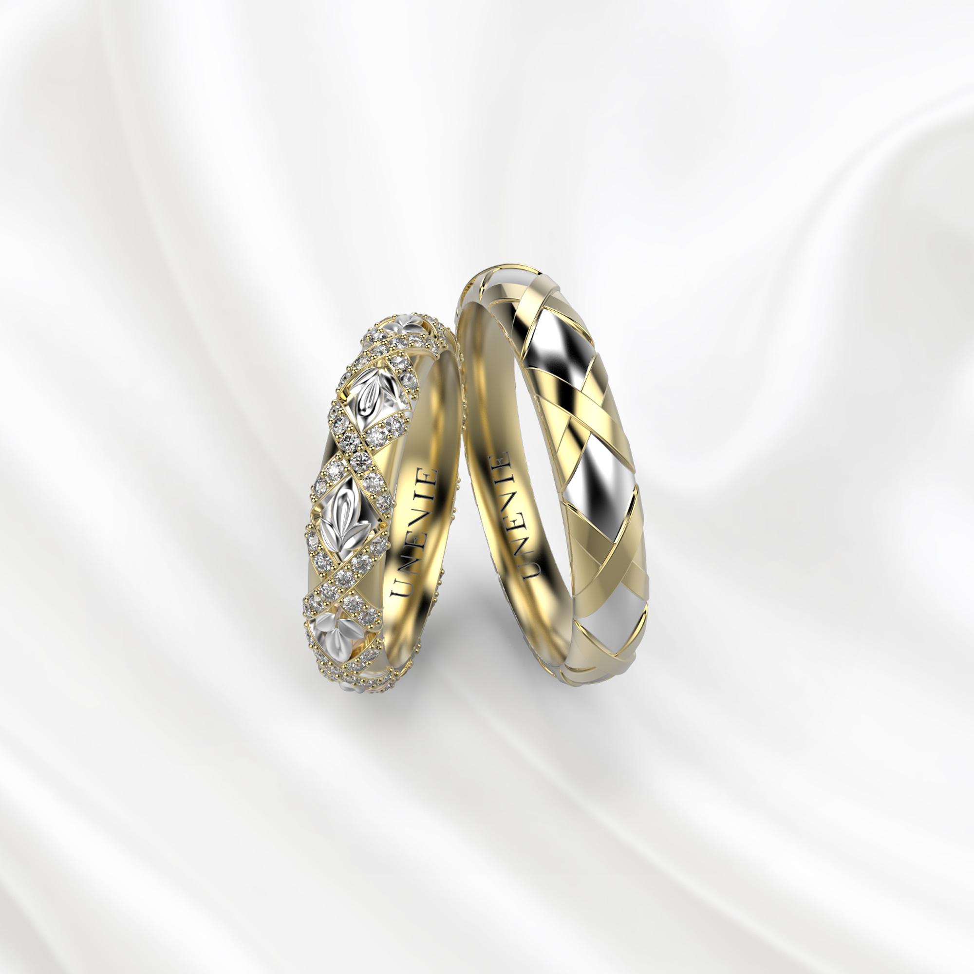 NV27 Обручальные кольца из жёлто-белого золота с бриллиантами