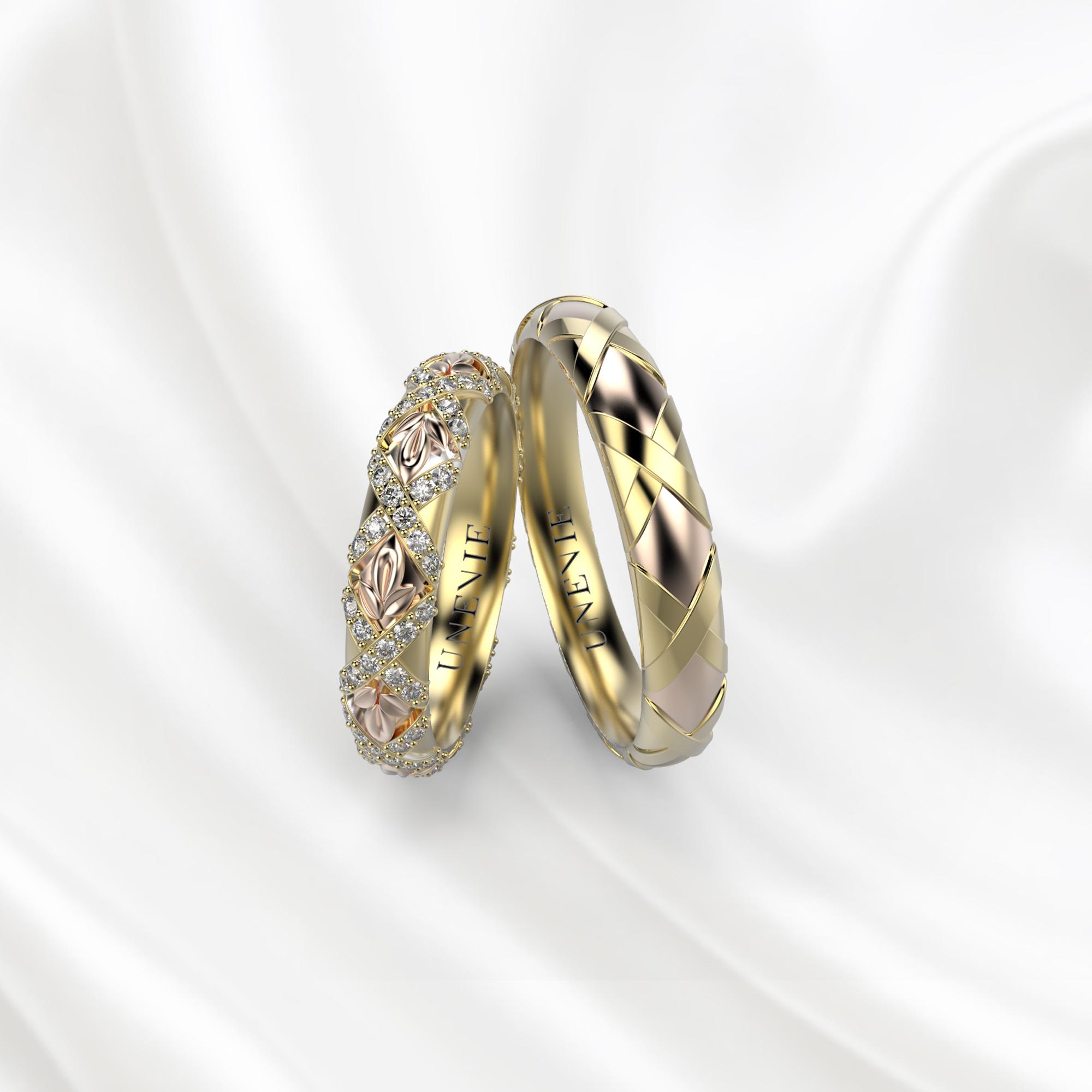 NV27 Обручальные кольца из жёлто-розового золота с бриллиантами