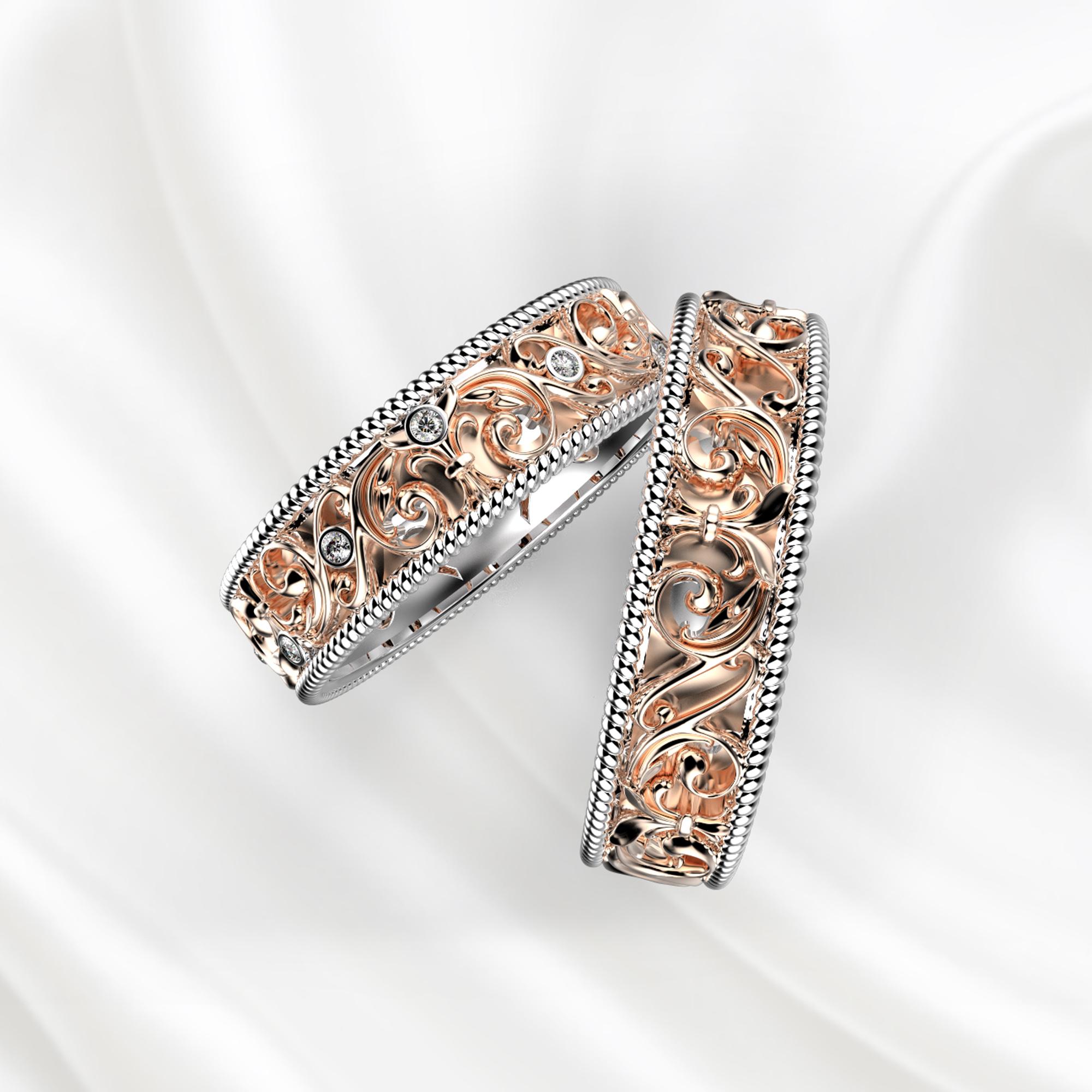 NV28 Обручальные кольца из бело-розового золота с бриллиантами