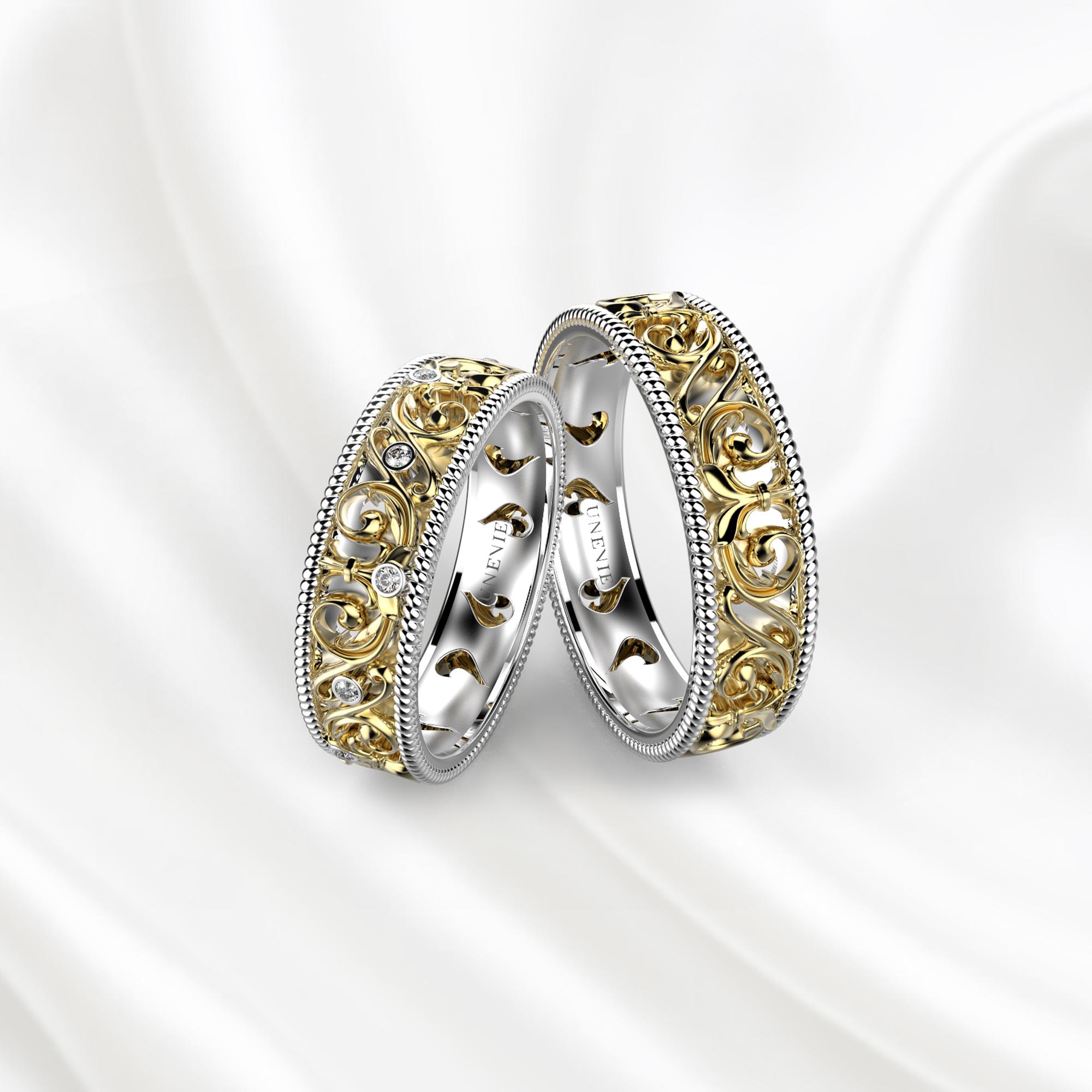 NV28 Обручальные кольца из бело-желтого золота с бриллиантами