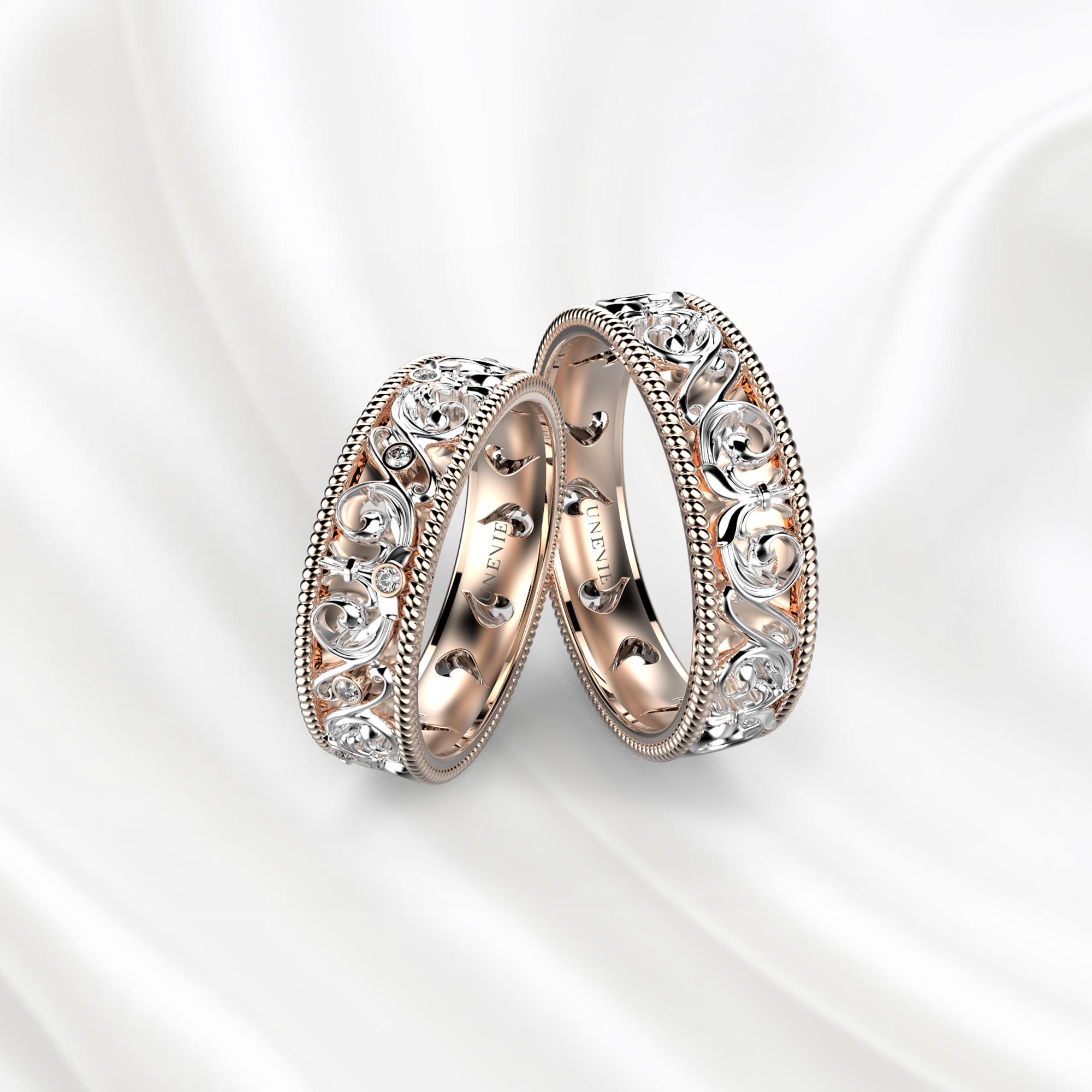 NV28 Обручальные кольца из розово-белого золота с бриллиантами
