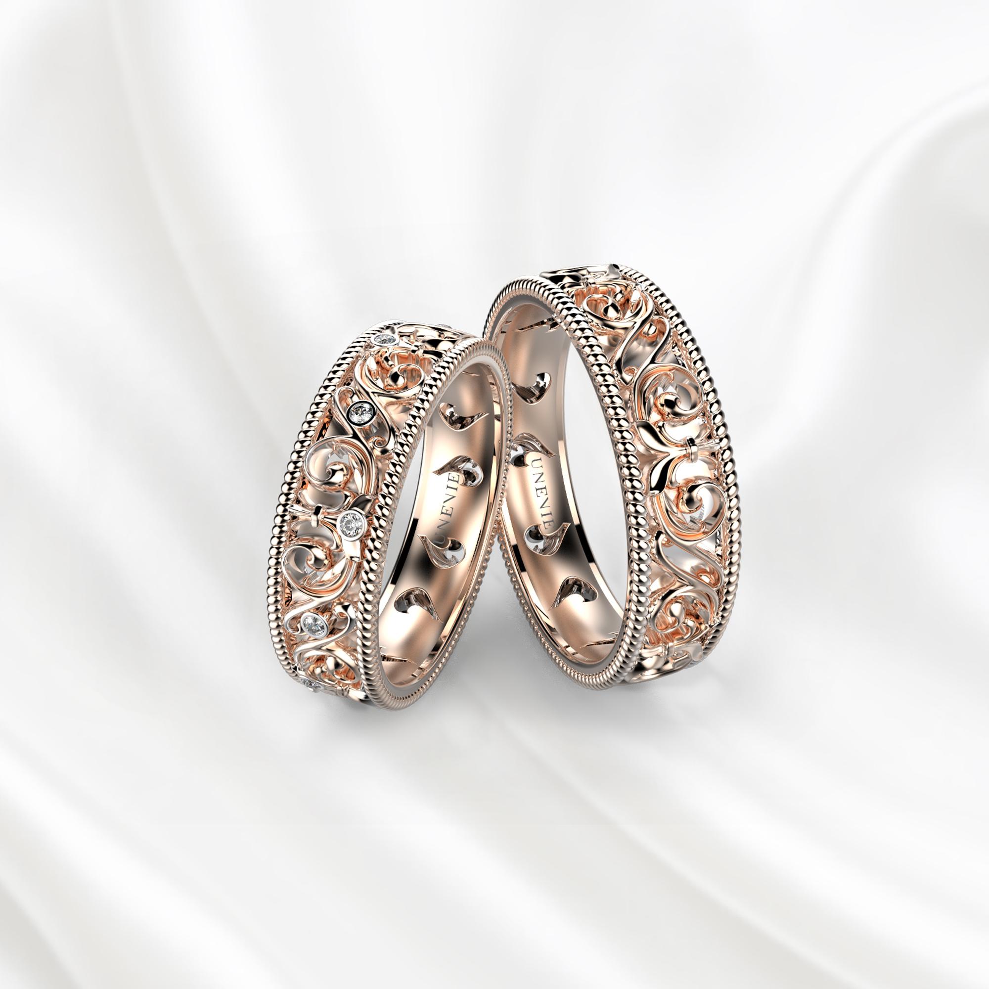 NV28 Обручальные кольца из розового золота с бриллиантами