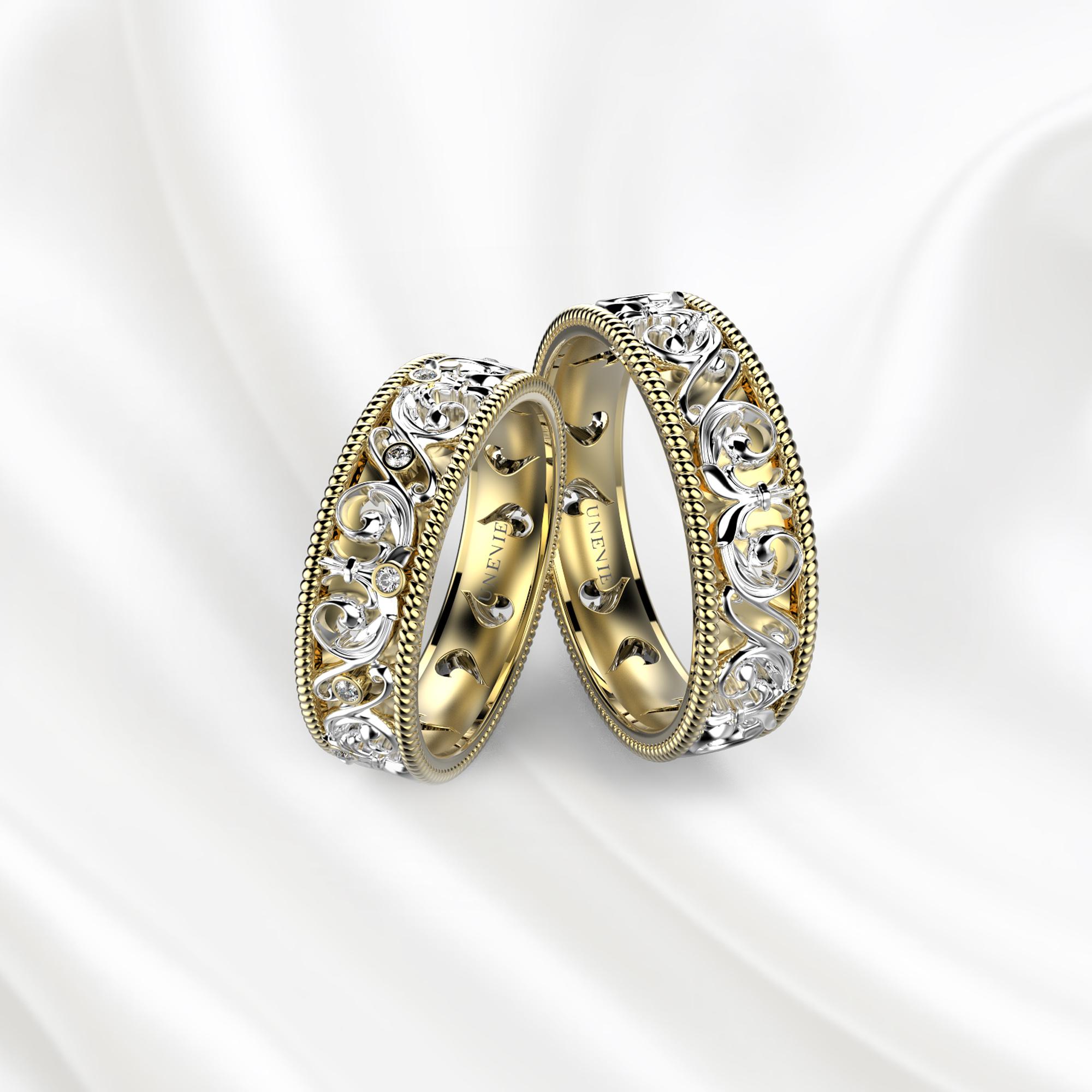 NV28 Обручальные кольца из желто-белого золота с бриллиантами