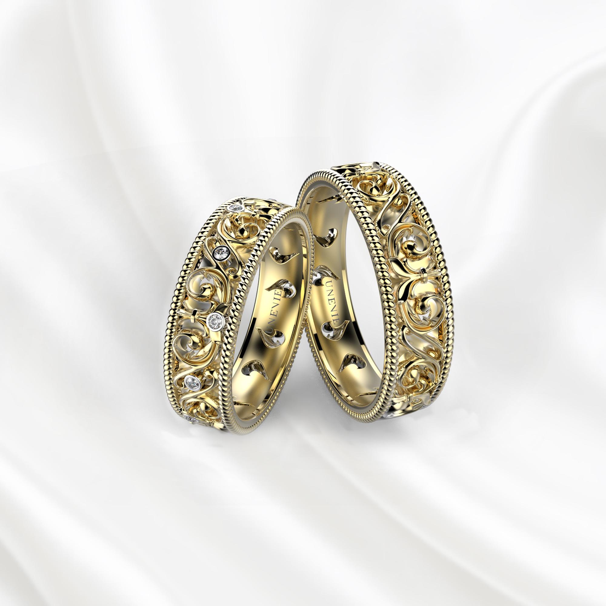 NV28 Обручальные кольца из желтого золота с бриллиантами