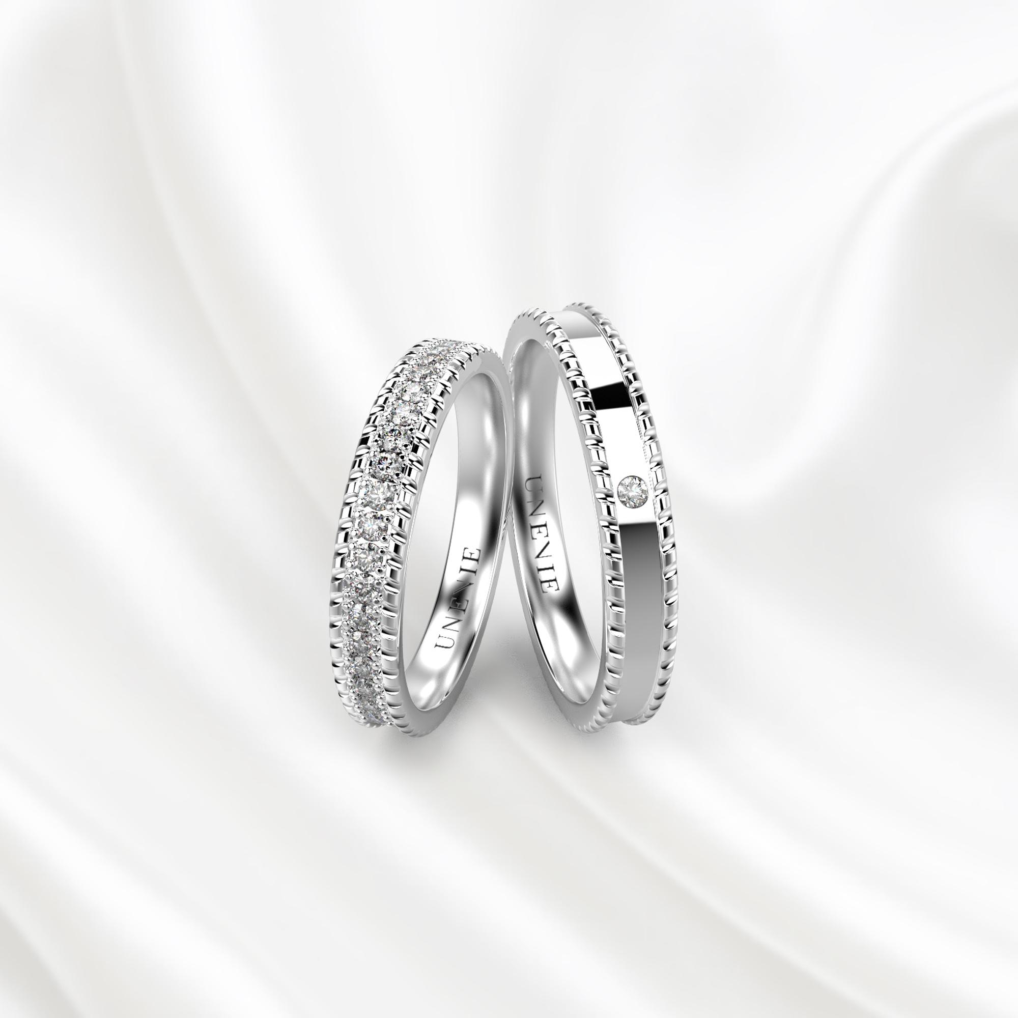 NV29 Обручальные кольца из белого золота с бриллиантами