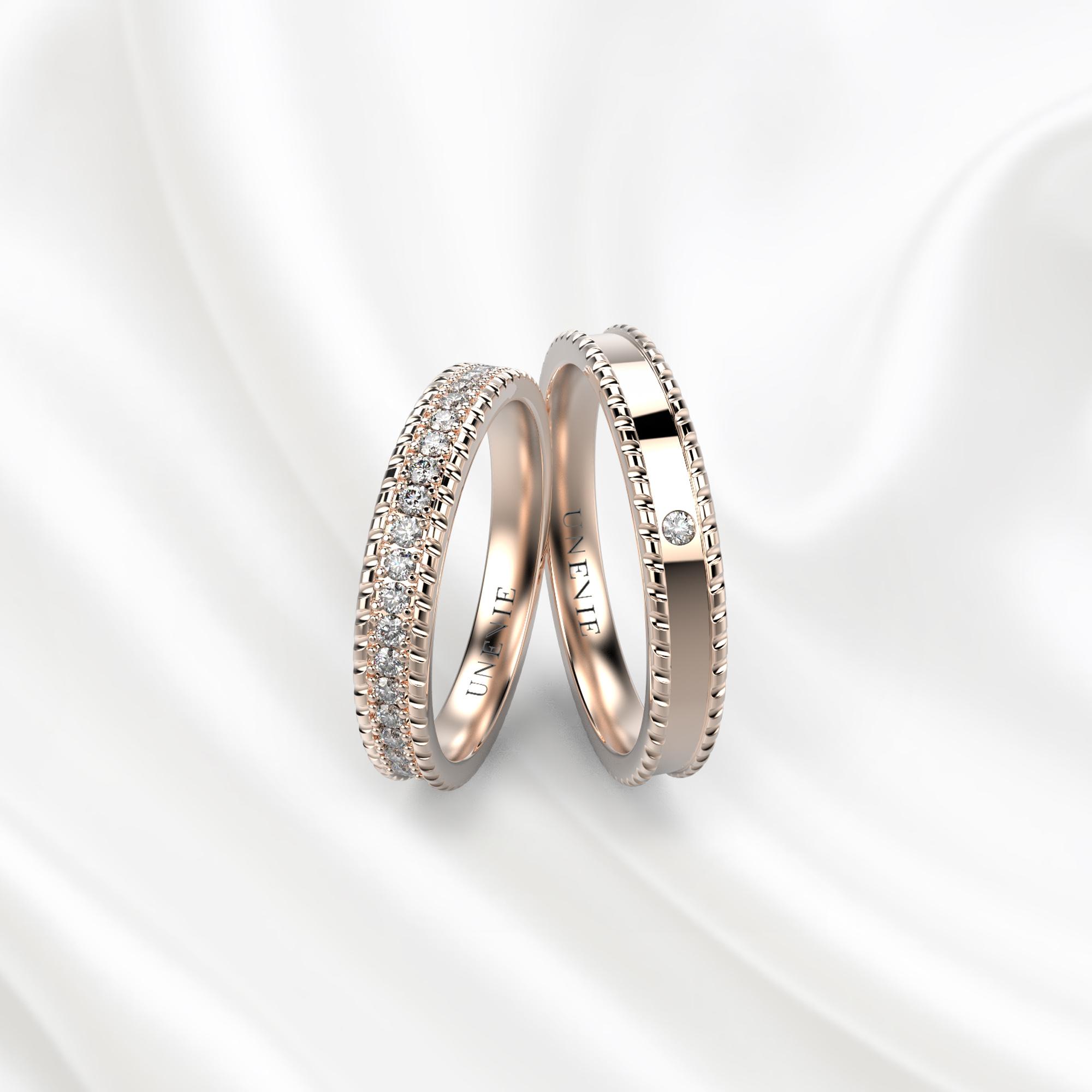 NV29 Обручальные кольца из розового золота с бриллиантами
