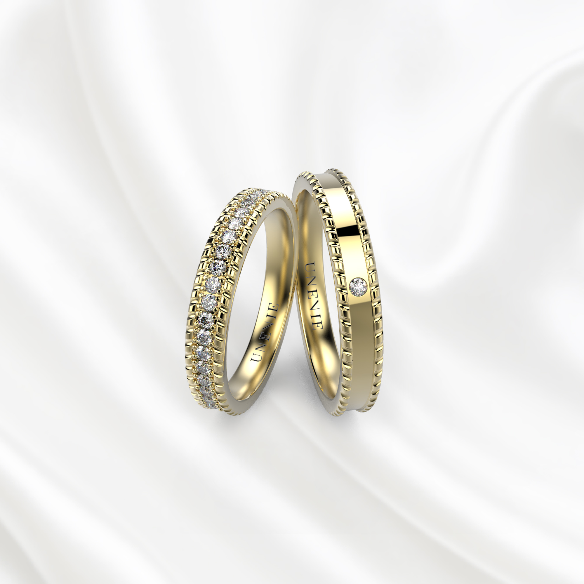 NV29 Обручальные кольца из желтого золота с бриллиантами
