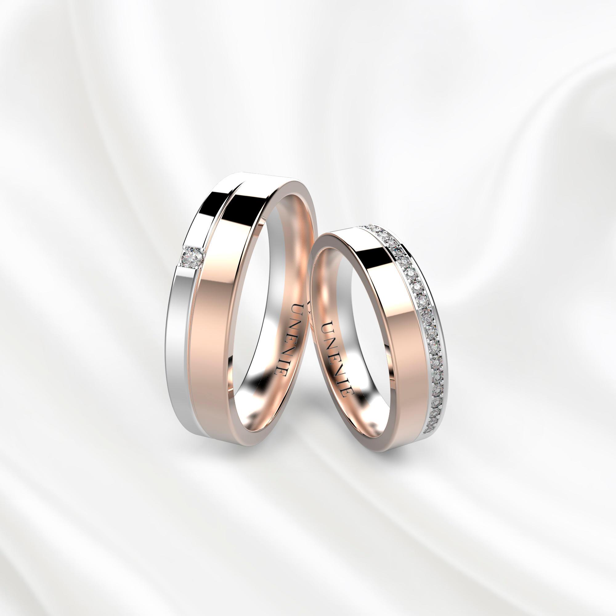 NV31 Обручальные кольца из розово-белого золота с бриллиантами