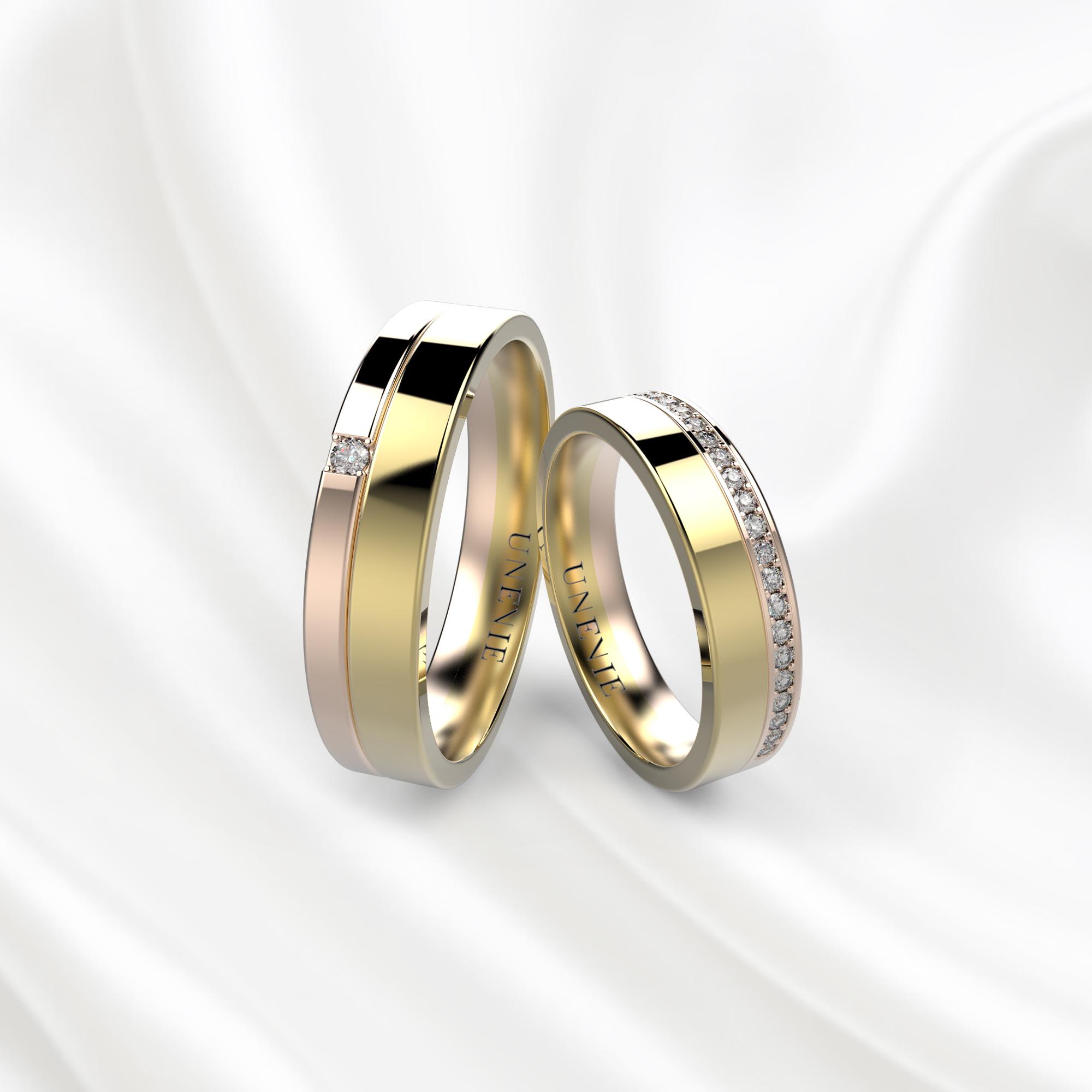 NV31 Обручальные кольца из желто-розового золота с бриллиантами