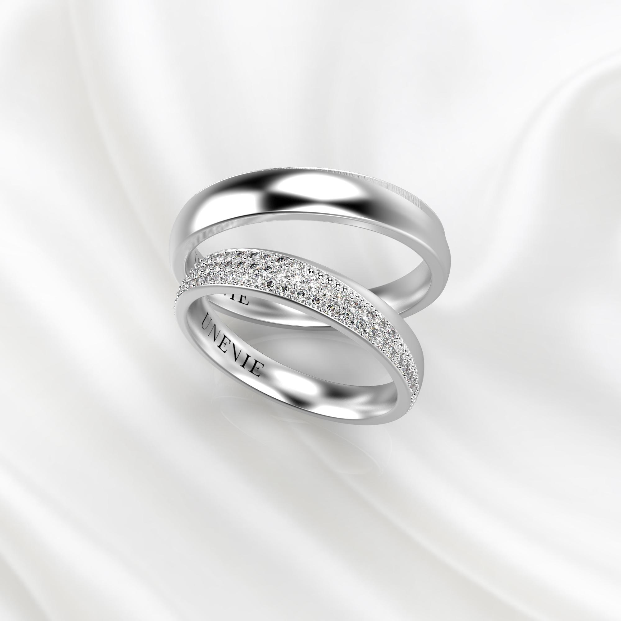 NV32 Обручальные кольца из белого золота с бриллиантами