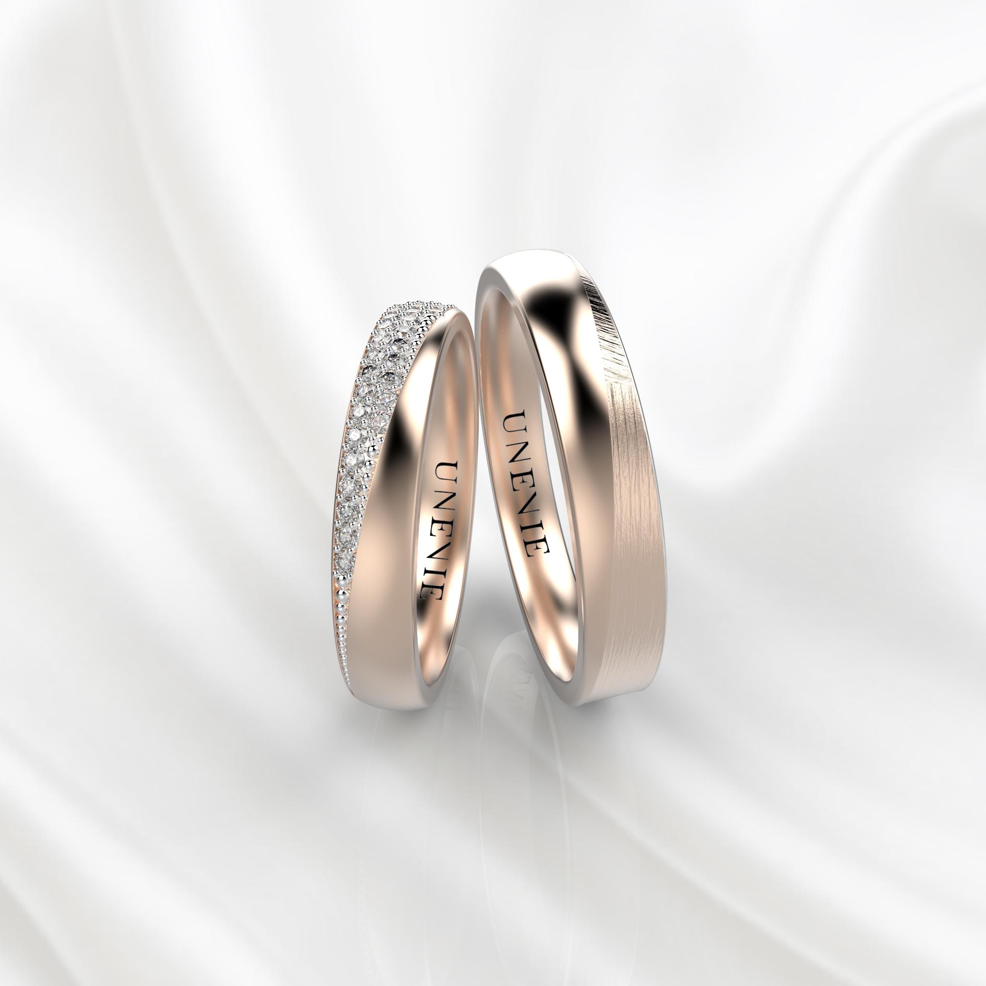 NV32 Обручальные кольца из розового золота с бриллиантами