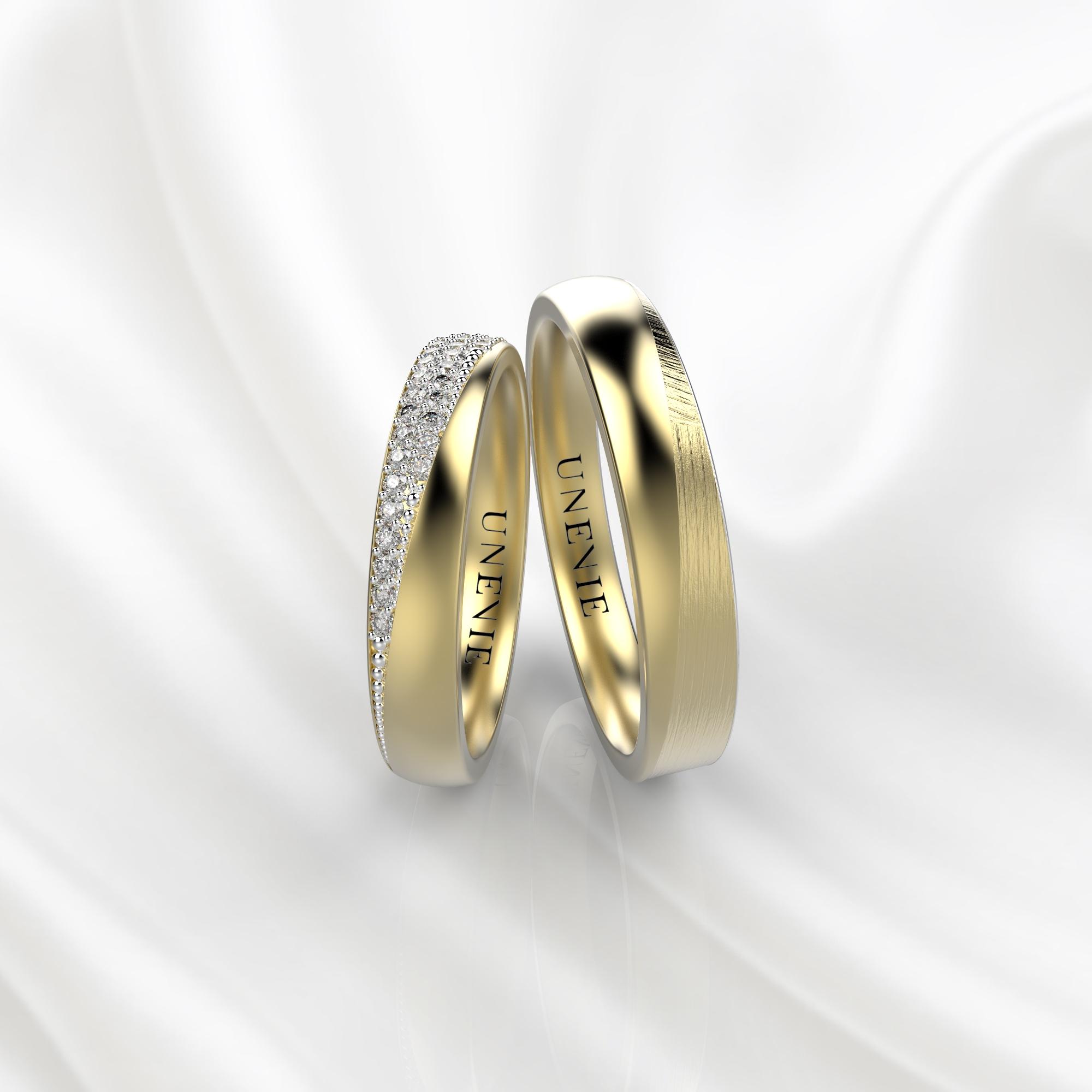 NV32 Обручальные кольца из желтого золота с бриллиантами