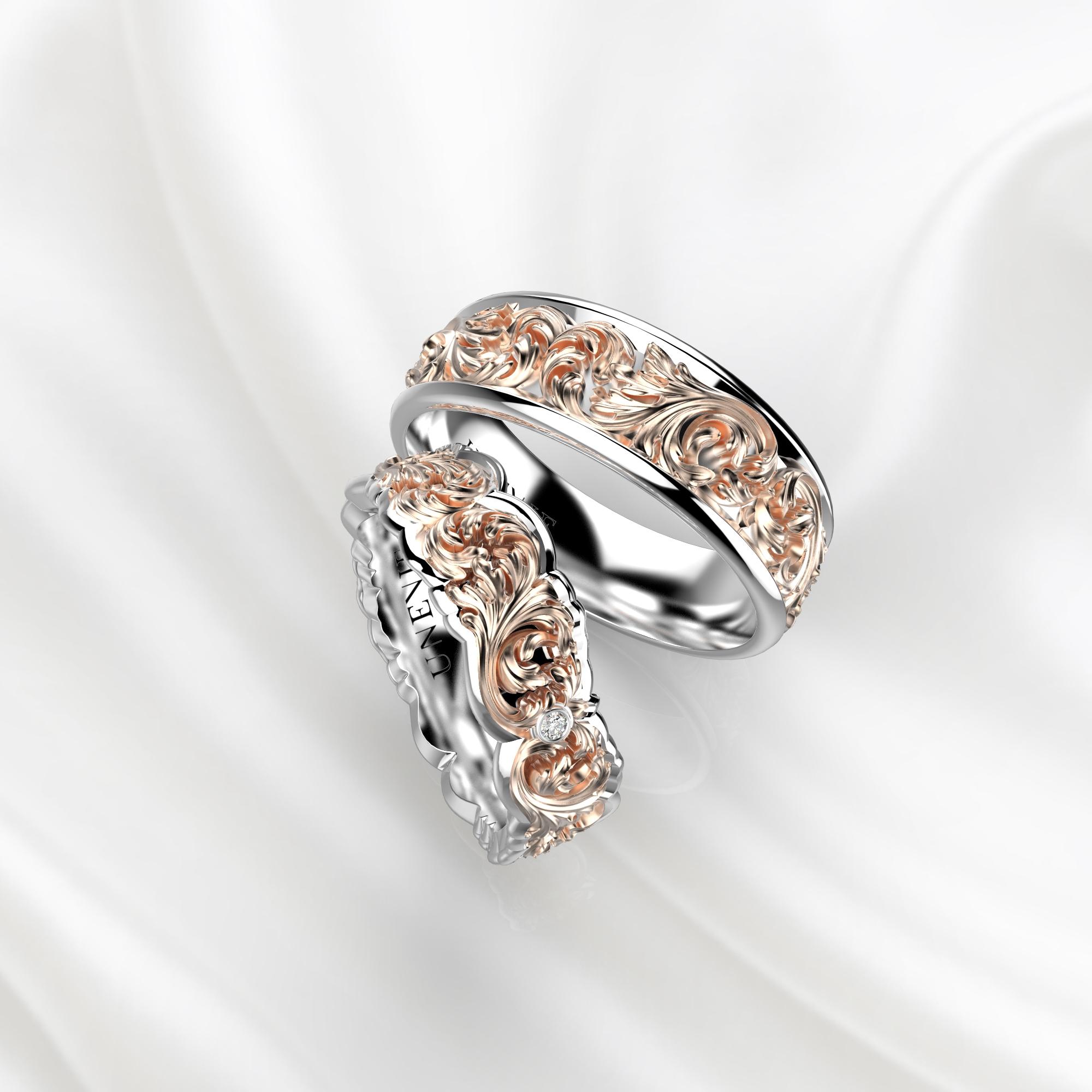 NV33 Обручальные кольца из бело-розового золота с бриллиантами