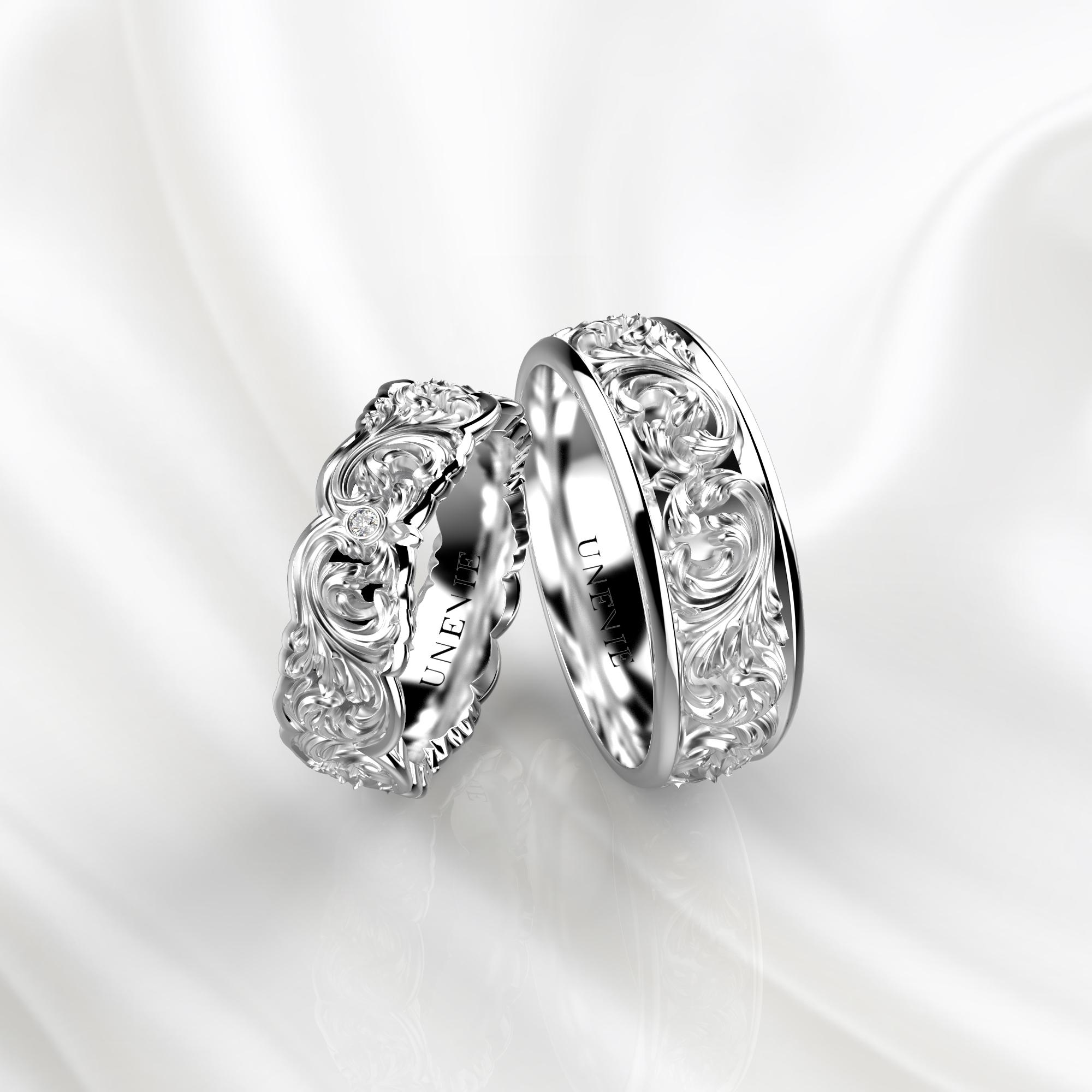 NV33 Обручальные кольца из белого золота с бриллиантами