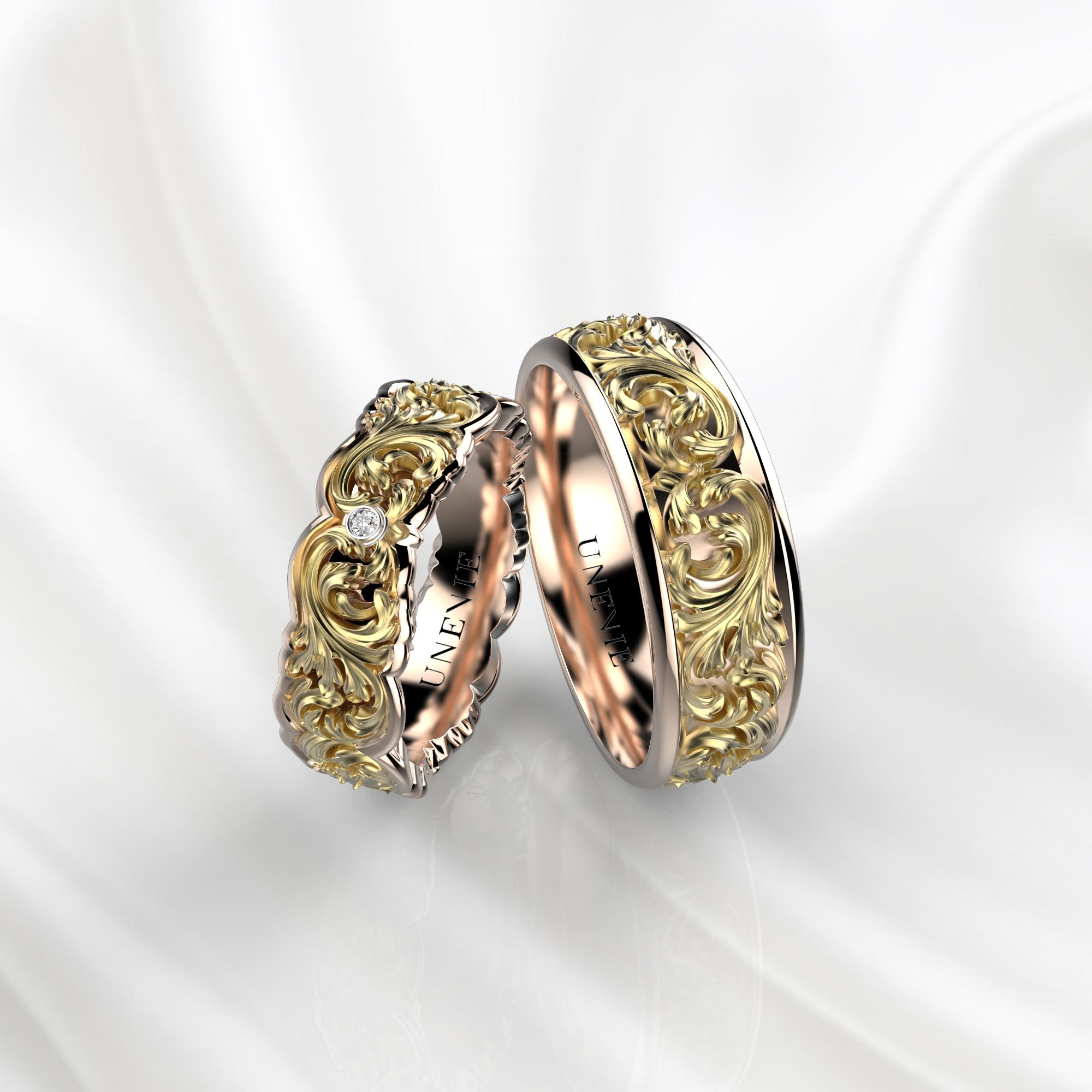 NV33 Обручальные кольца из розово-желтого золота с бриллиантами