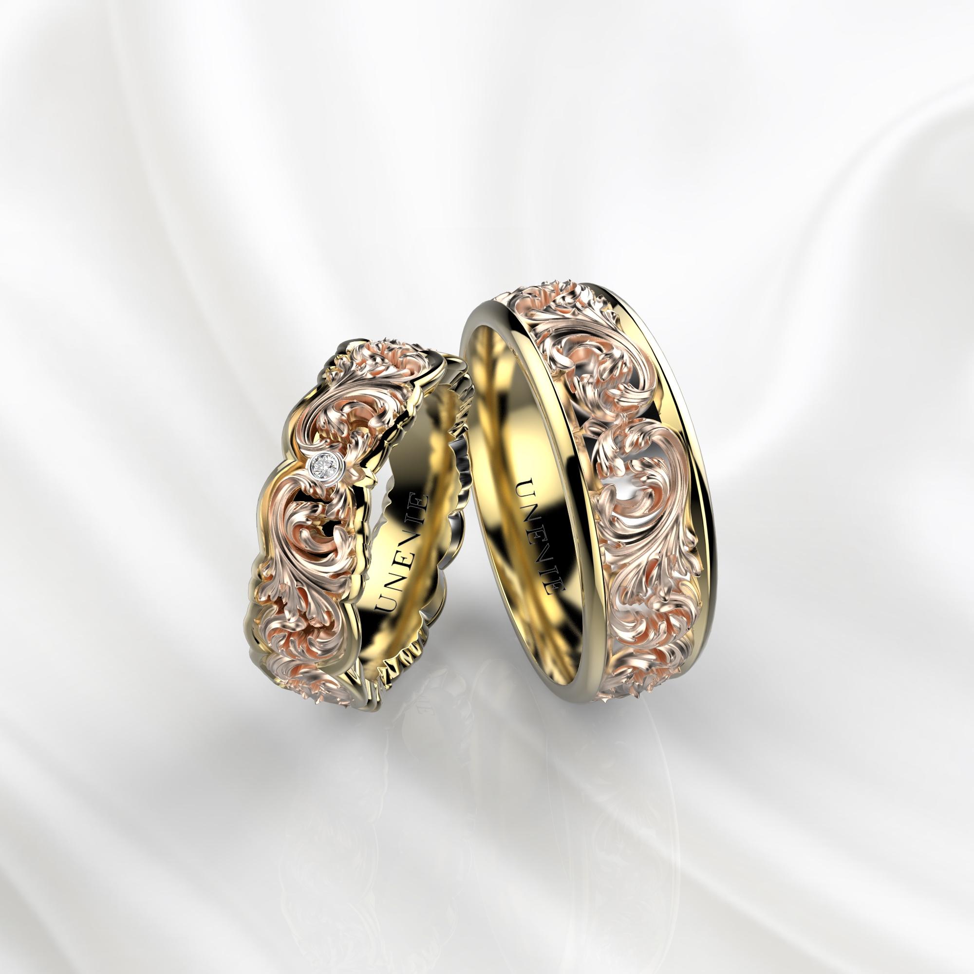 NV33 Обручальные кольца из желто-розового золота с бриллиантами