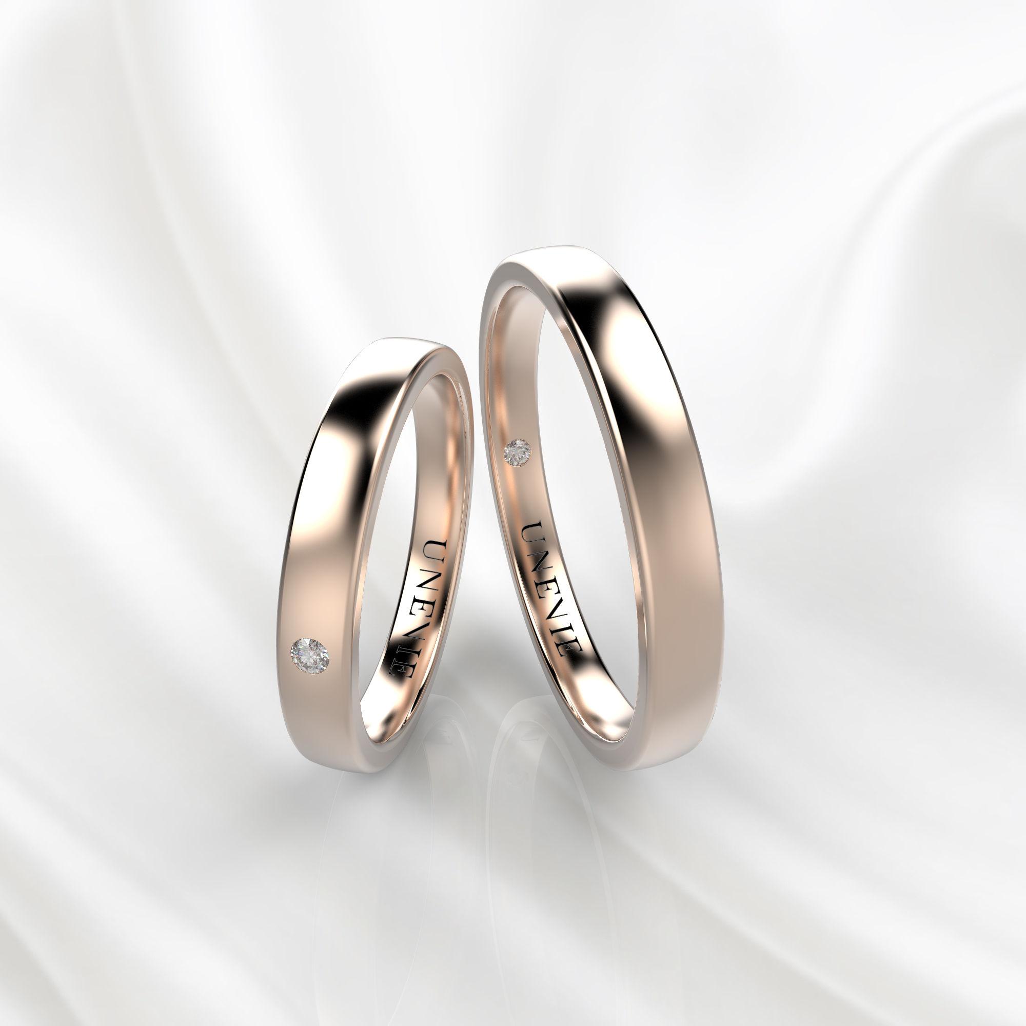 NV34 Обручальные кольца из розового золота с бриллиантами