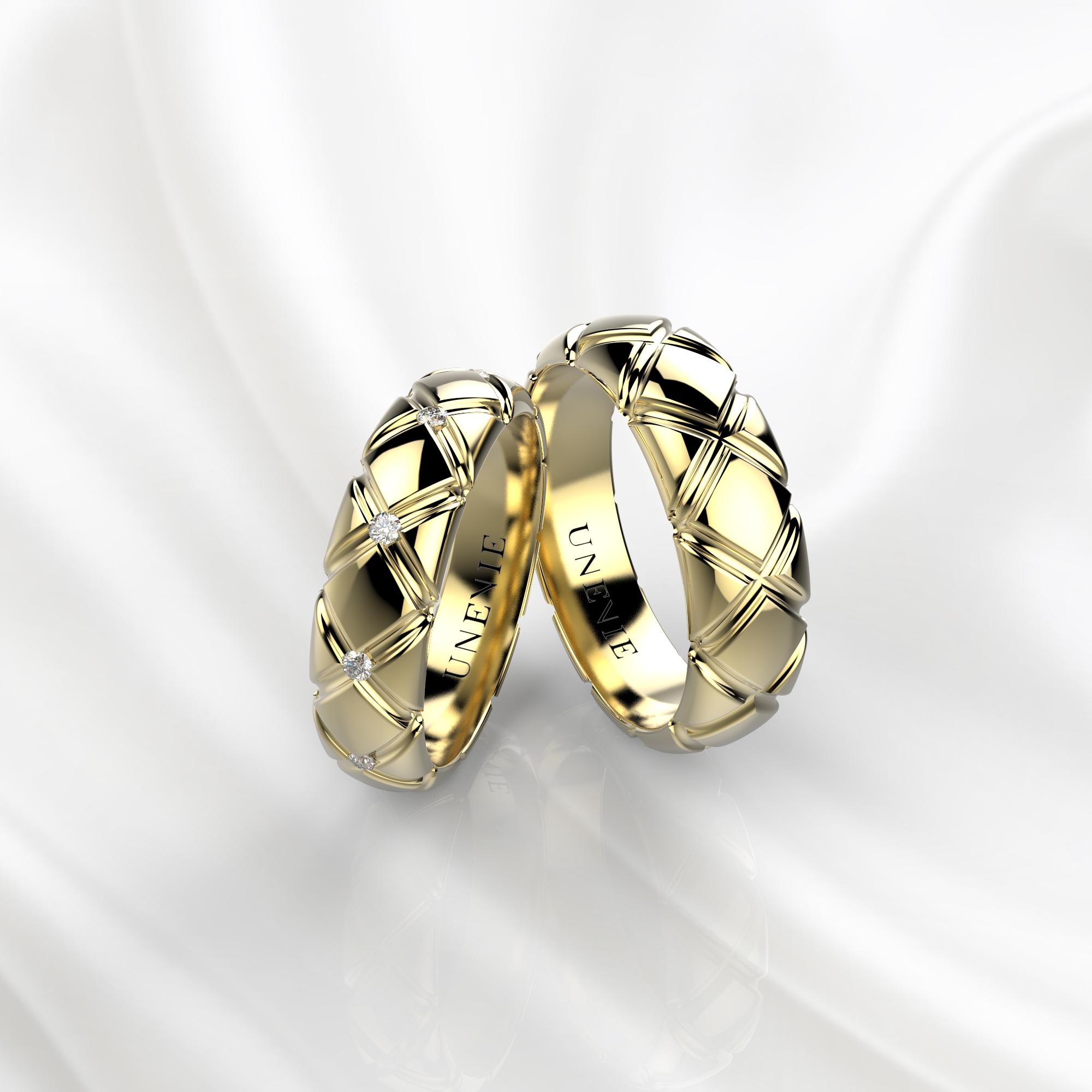 NV35 Обручальные кольца из желтого золота с бриллиантами