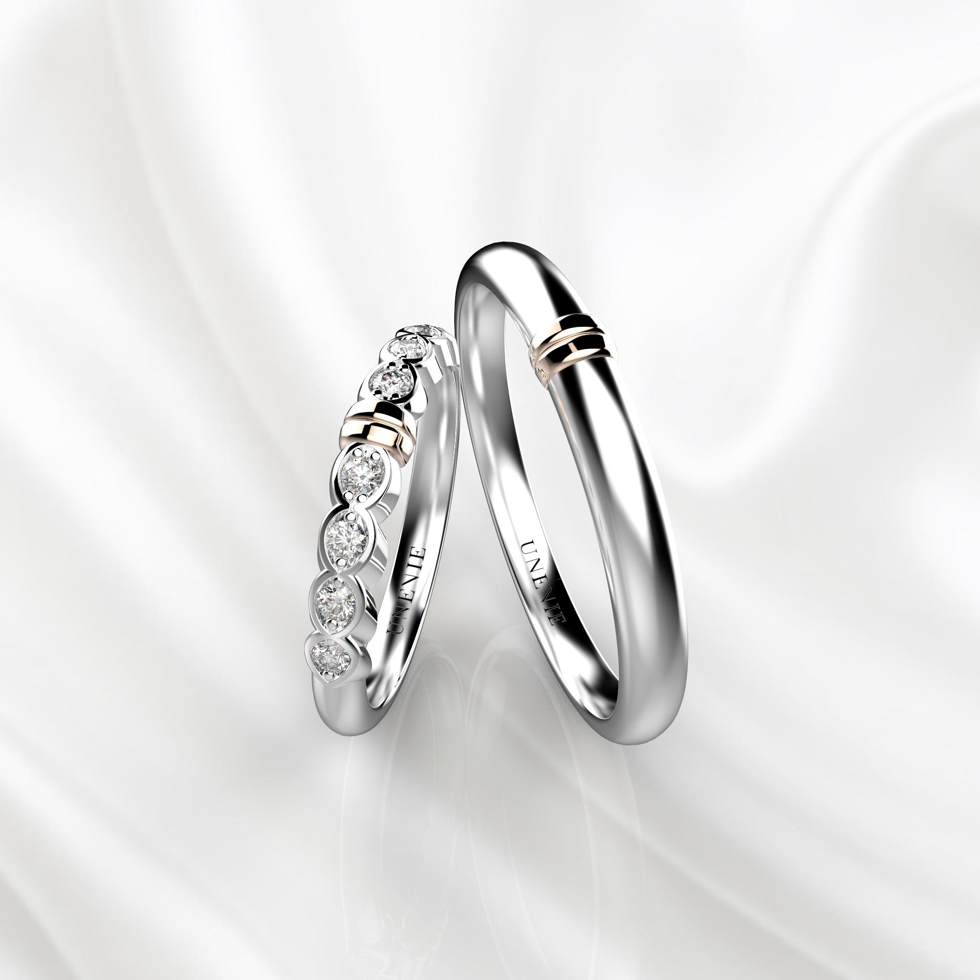 NV36 Обручальные кольца из белого-розового золота с бриллиантами