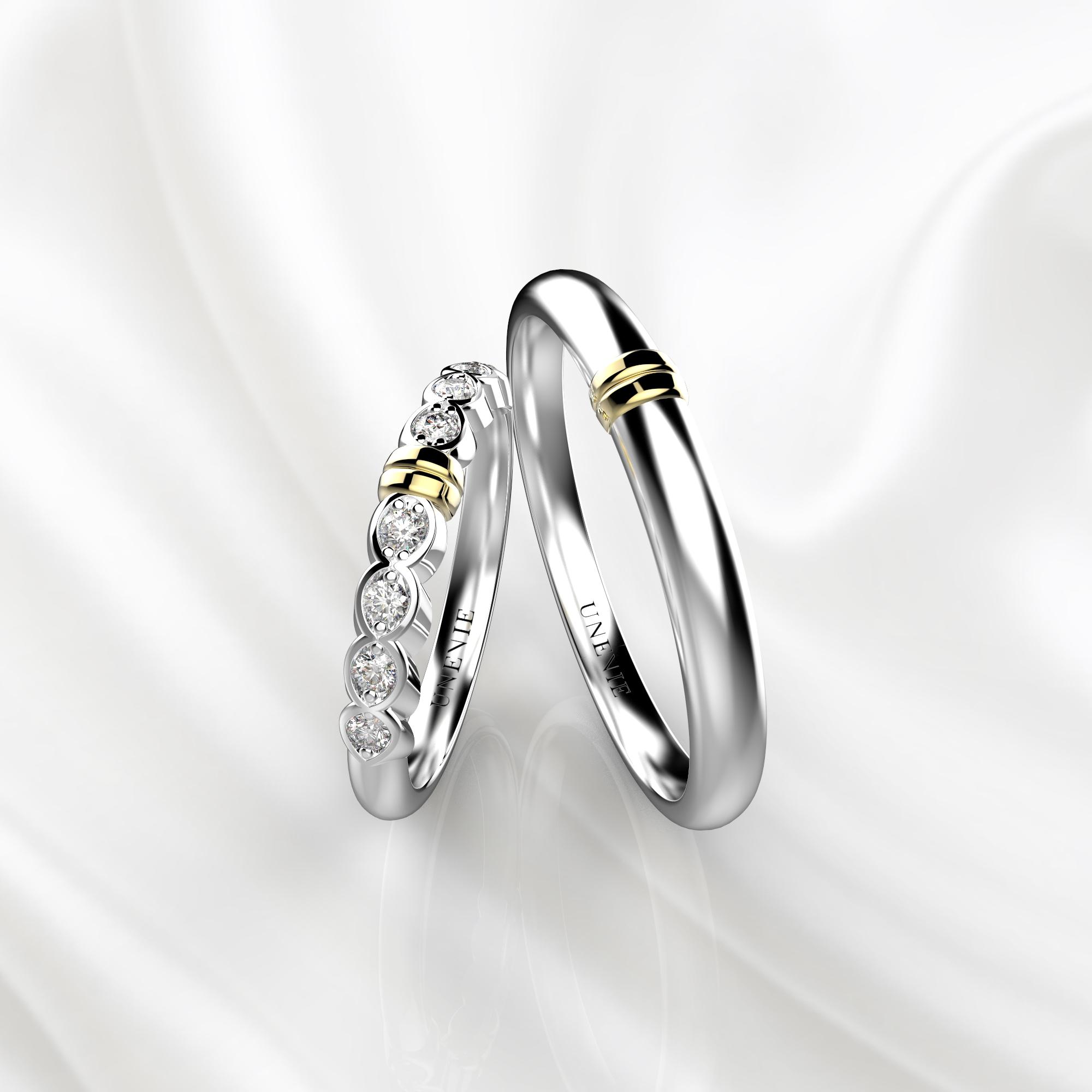 NV36 Обручальные кольца из белого-желтого золота с бриллиантами