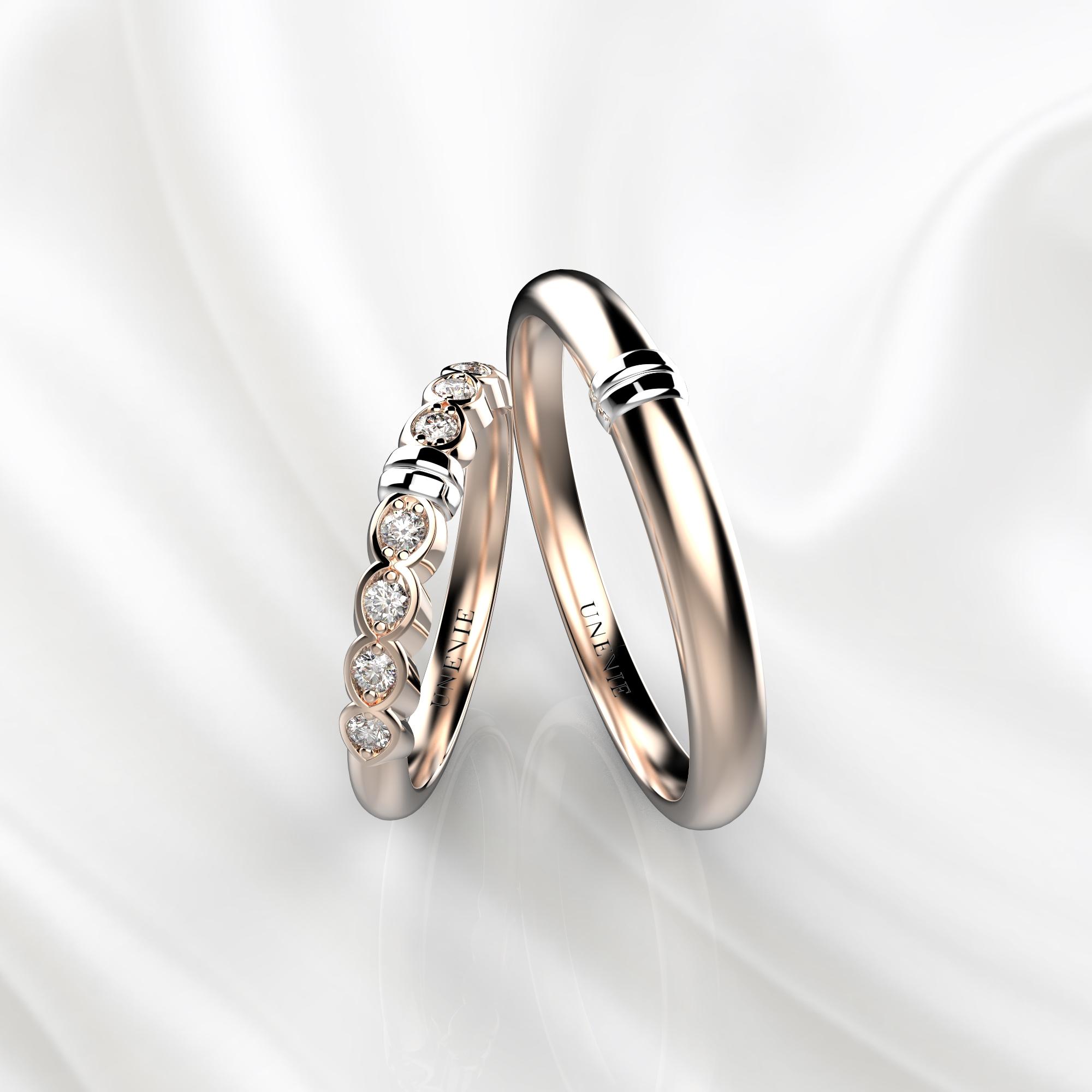 NV36 Обручальные кольца из розово-белого золота с бриллиантами