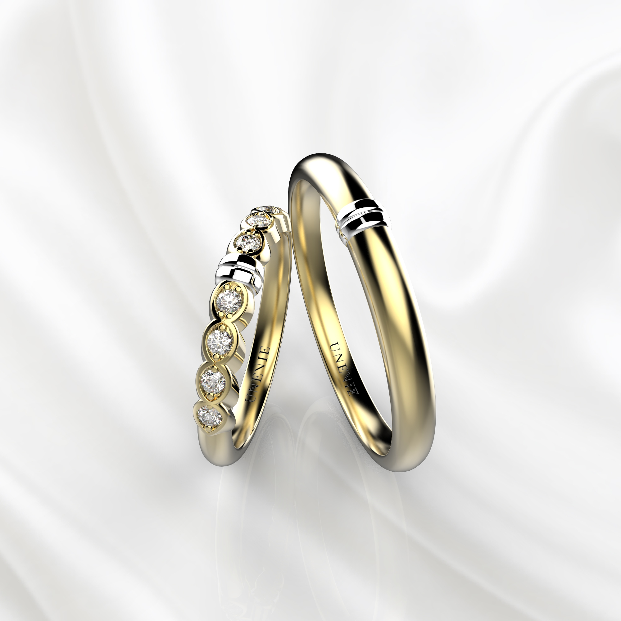 NV36 Обручальные кольца из желто-белого золота с бриллиантами