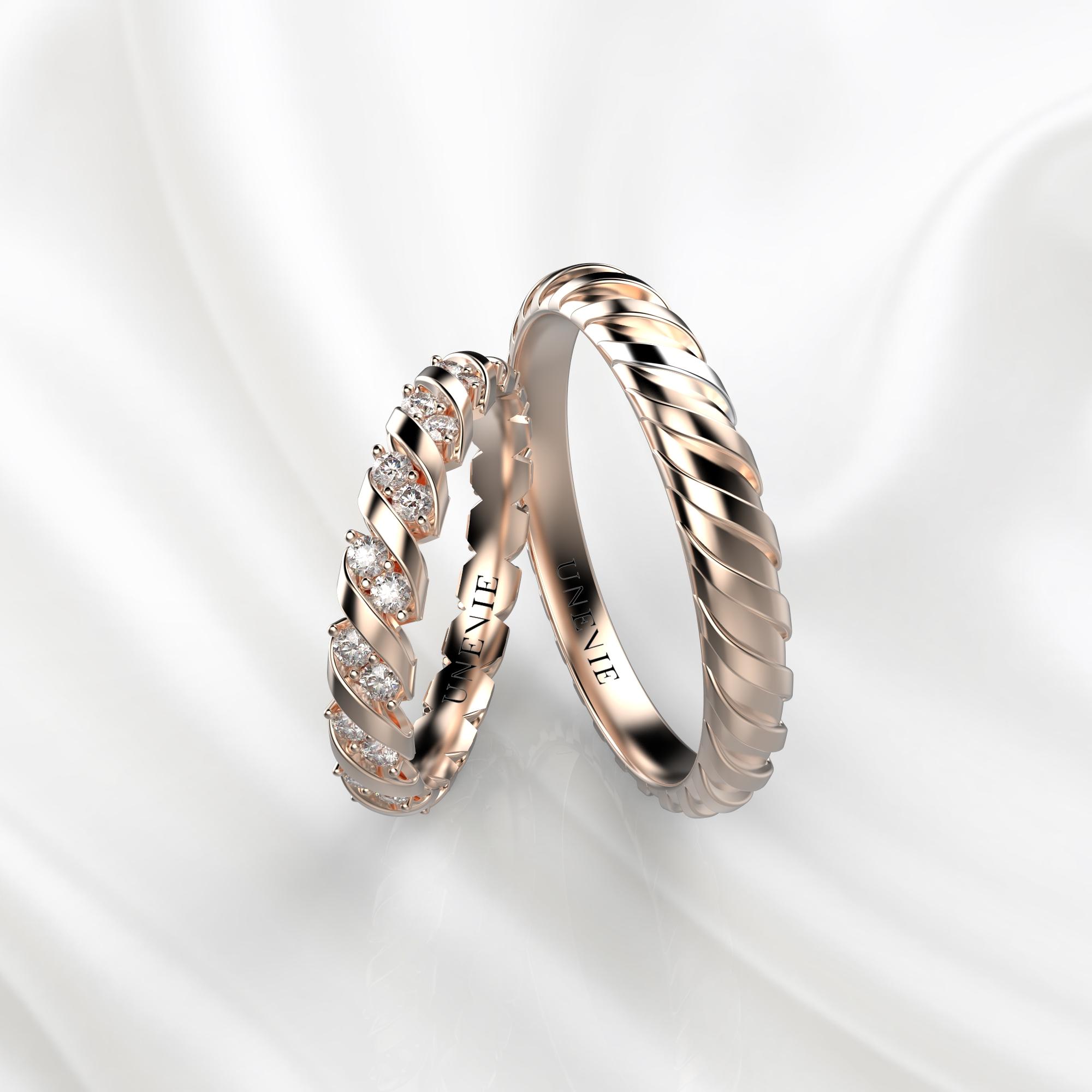 NV37 Обручальные кольца из розового золота с бриллиантами