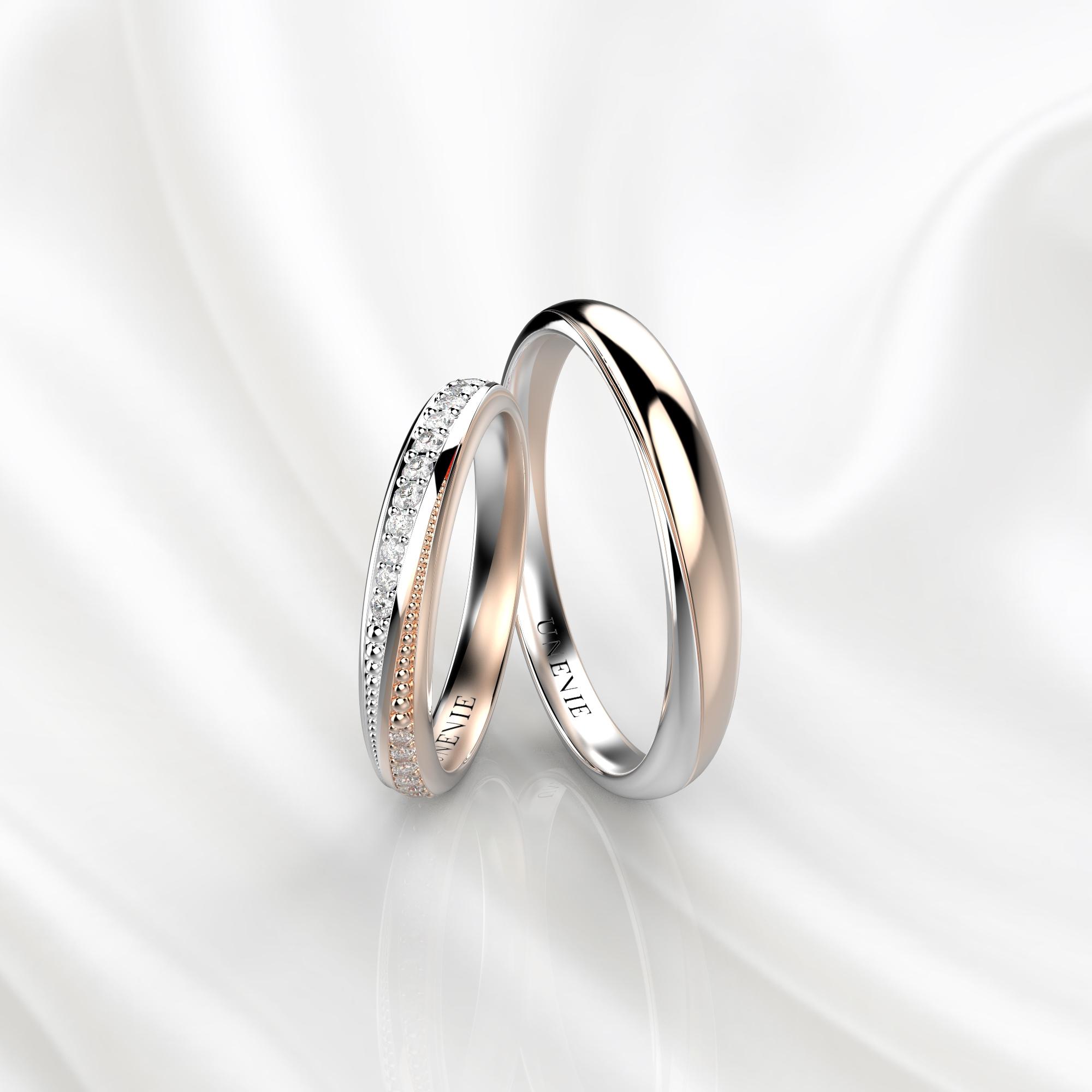 NV38 Обручальные кольца из бело-розового золота с бриллиантами