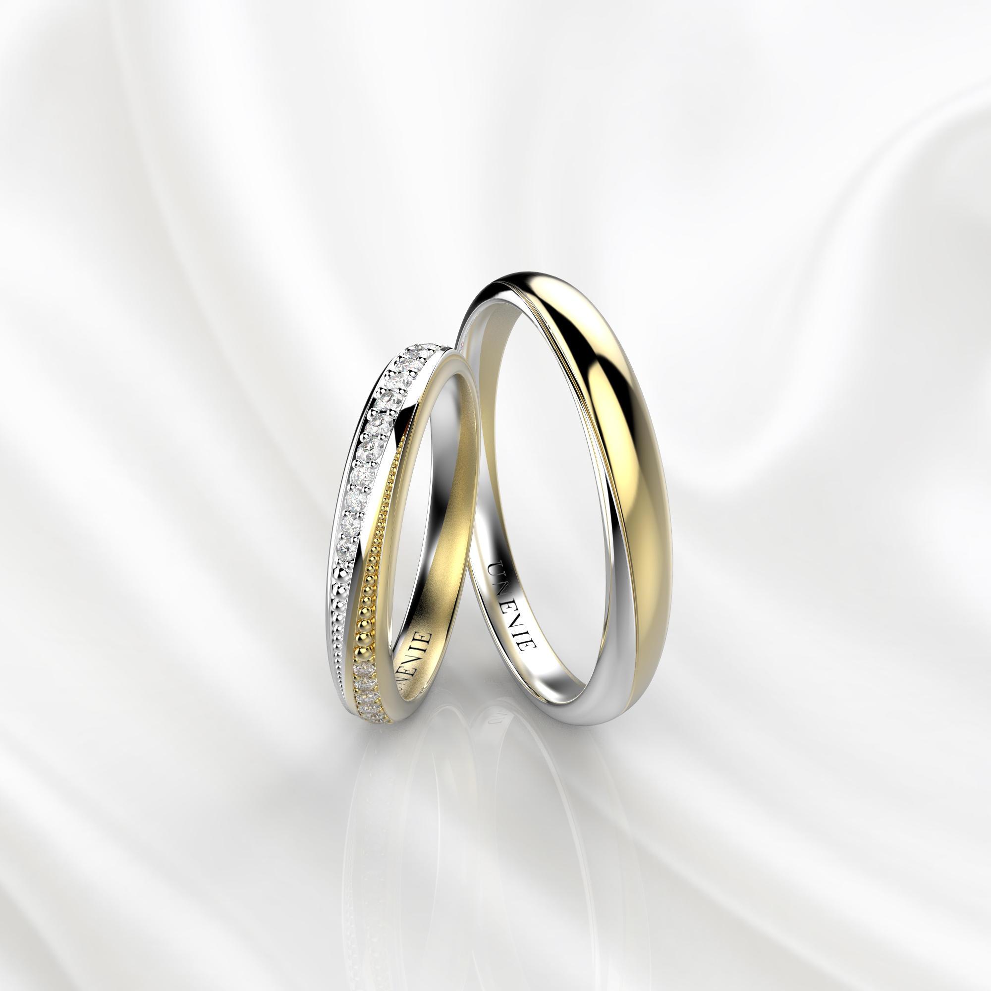 NV38 Обручальные кольца из бело-желтого золота с бриллиантами