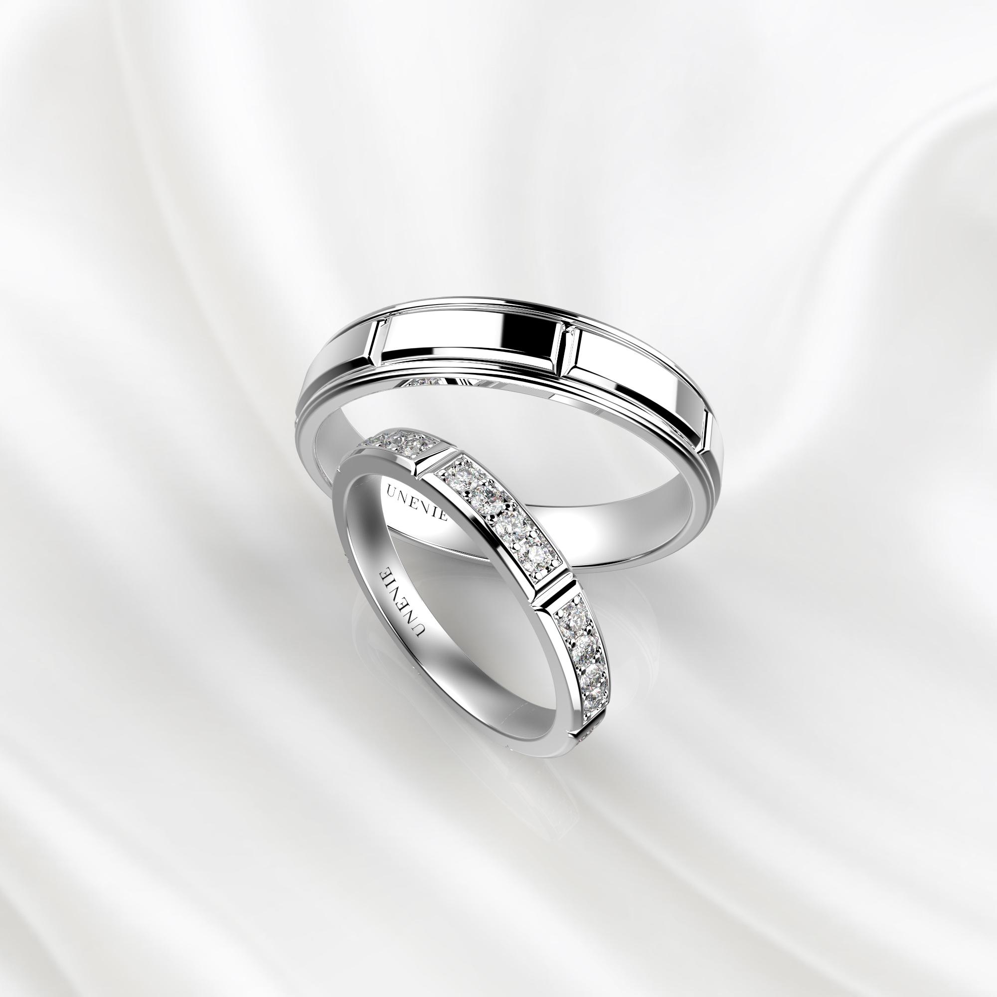 NV40 Обручальные кольца из белого золота с бриллиантами до середины