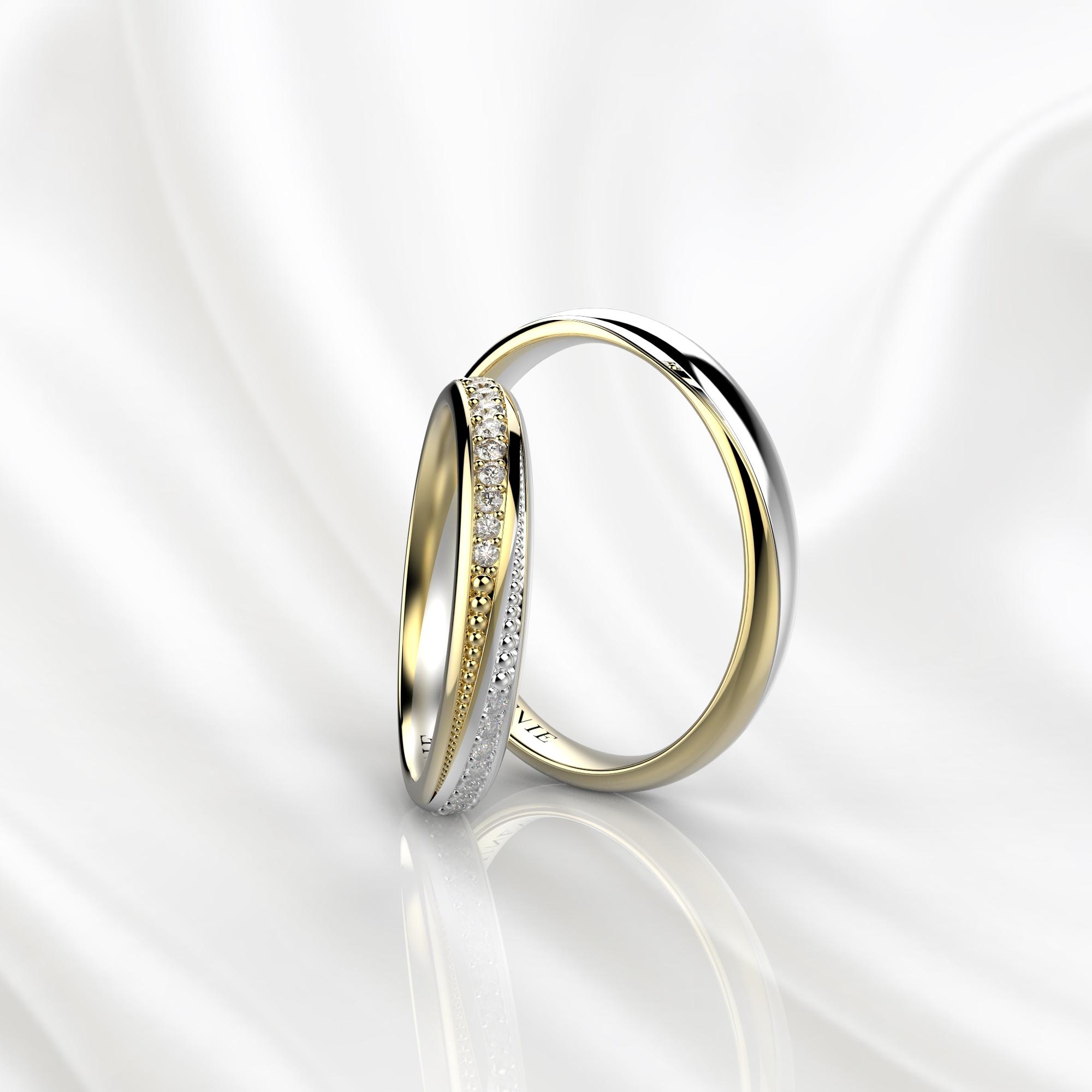 NV38 Обручальные кольца из желто-белого золота с бриллиантами