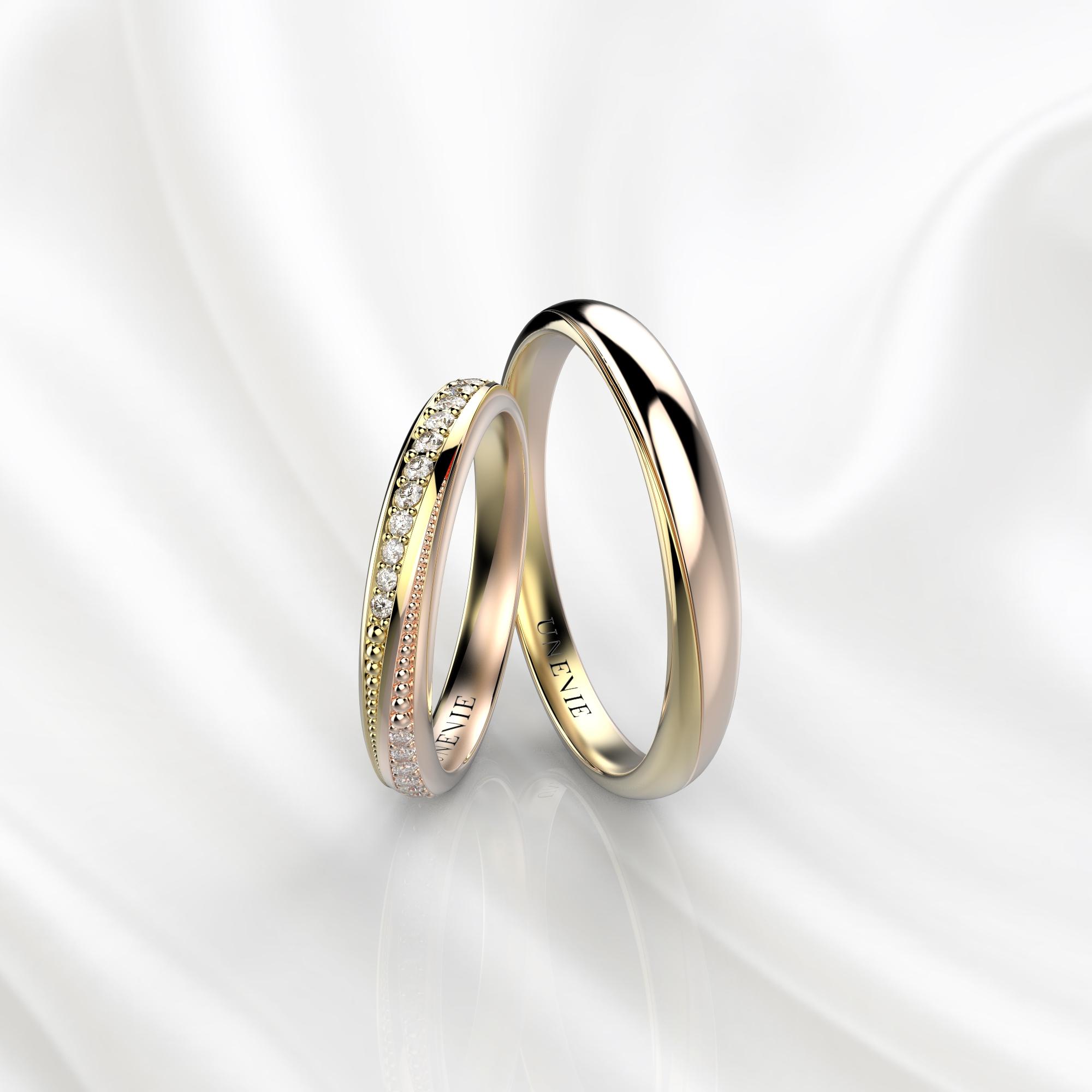 NV38 Обручальные кольца из желто-розового золота с бриллиантами
