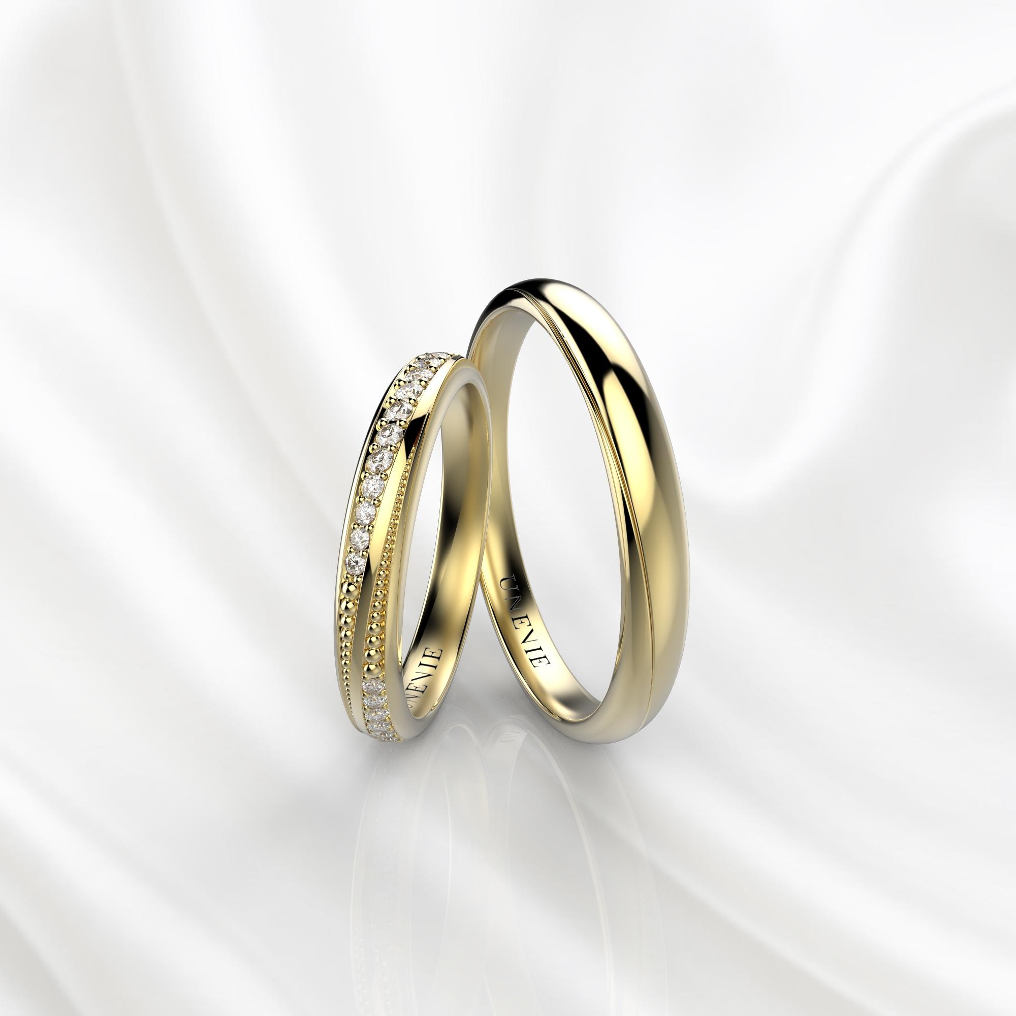 NV38 Обручальные кольца из желтого золота с бриллиантами