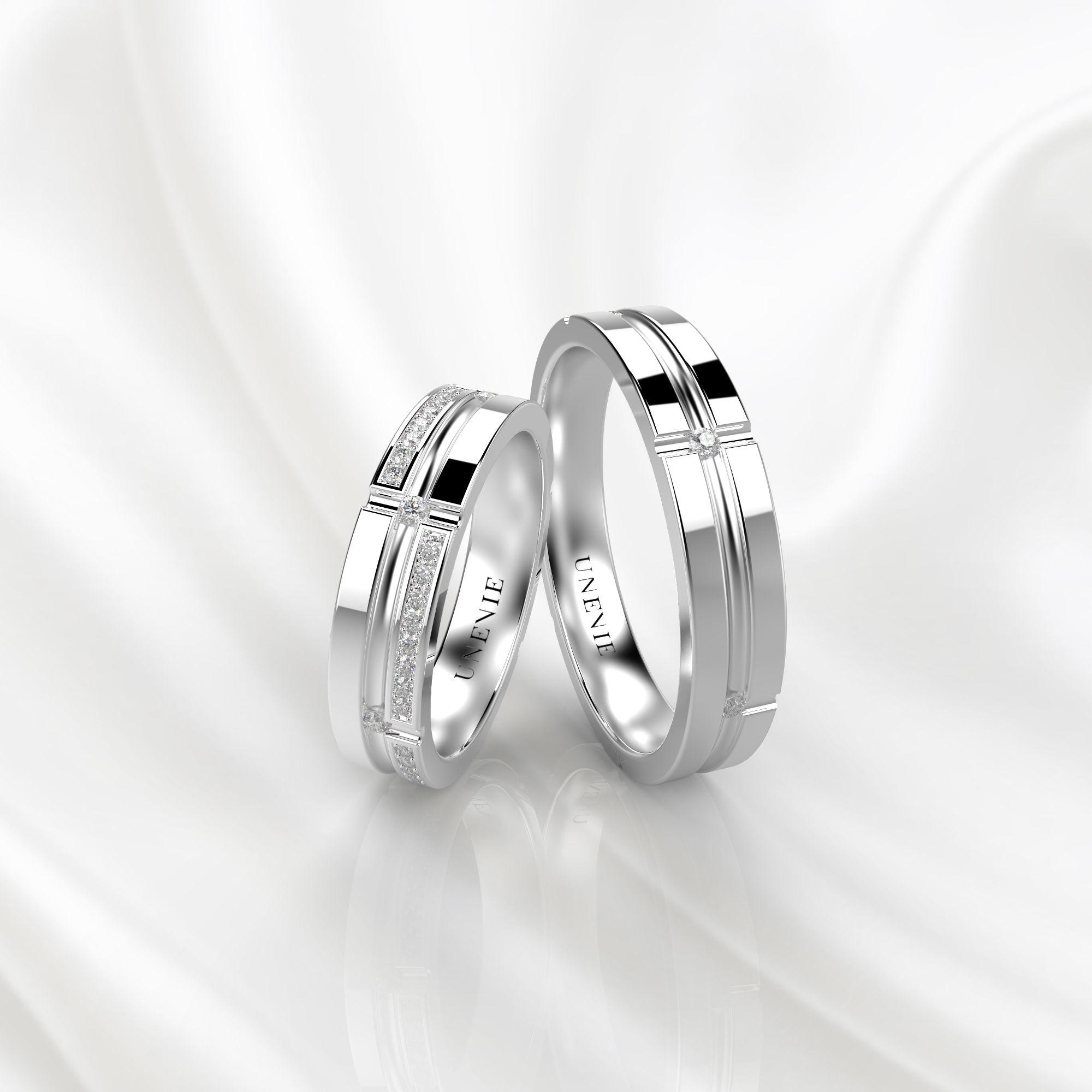 NV39 Обручальные кольца из белого золота с бриллиантами