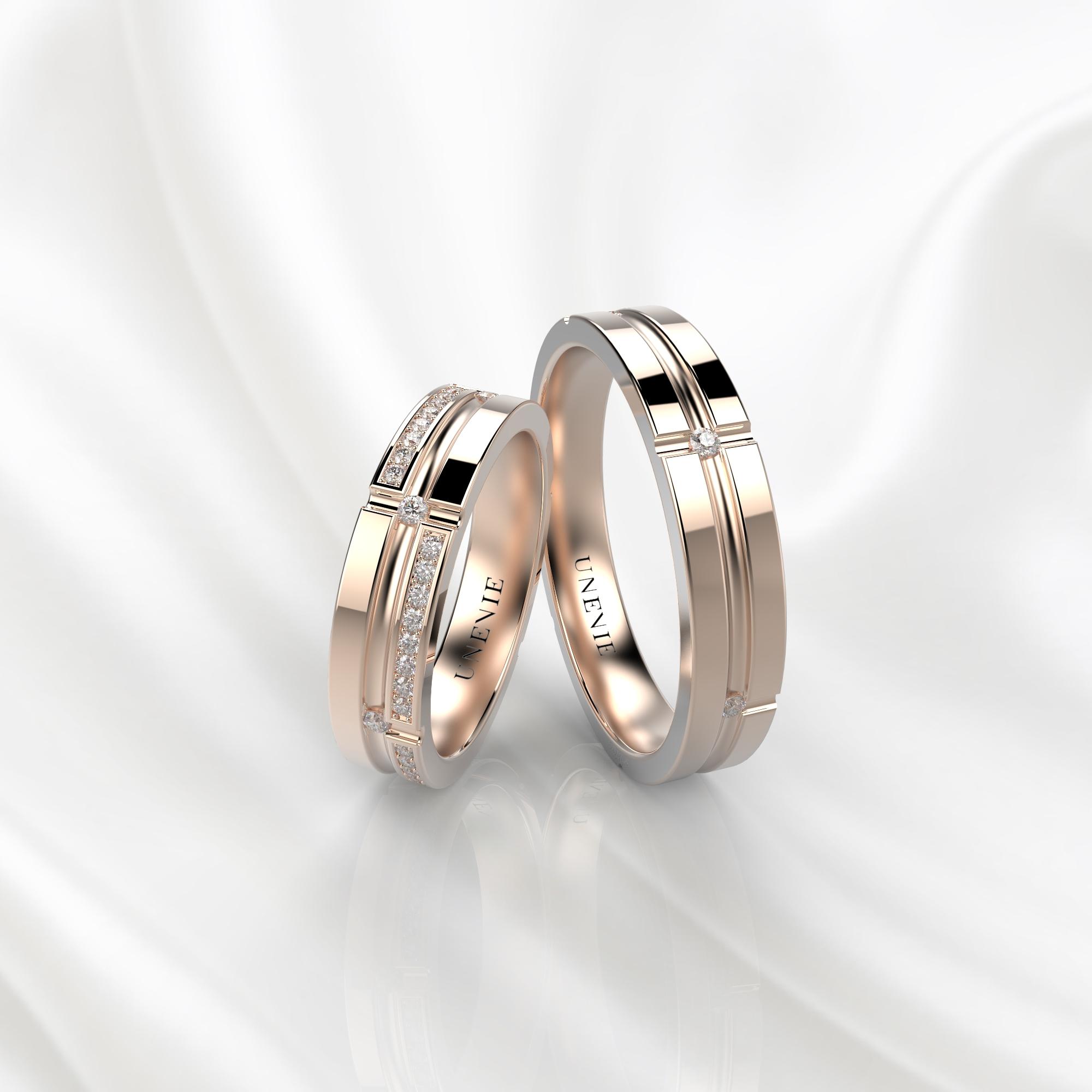 NV39 Обручальные кольца из розового золота с бриллиантами