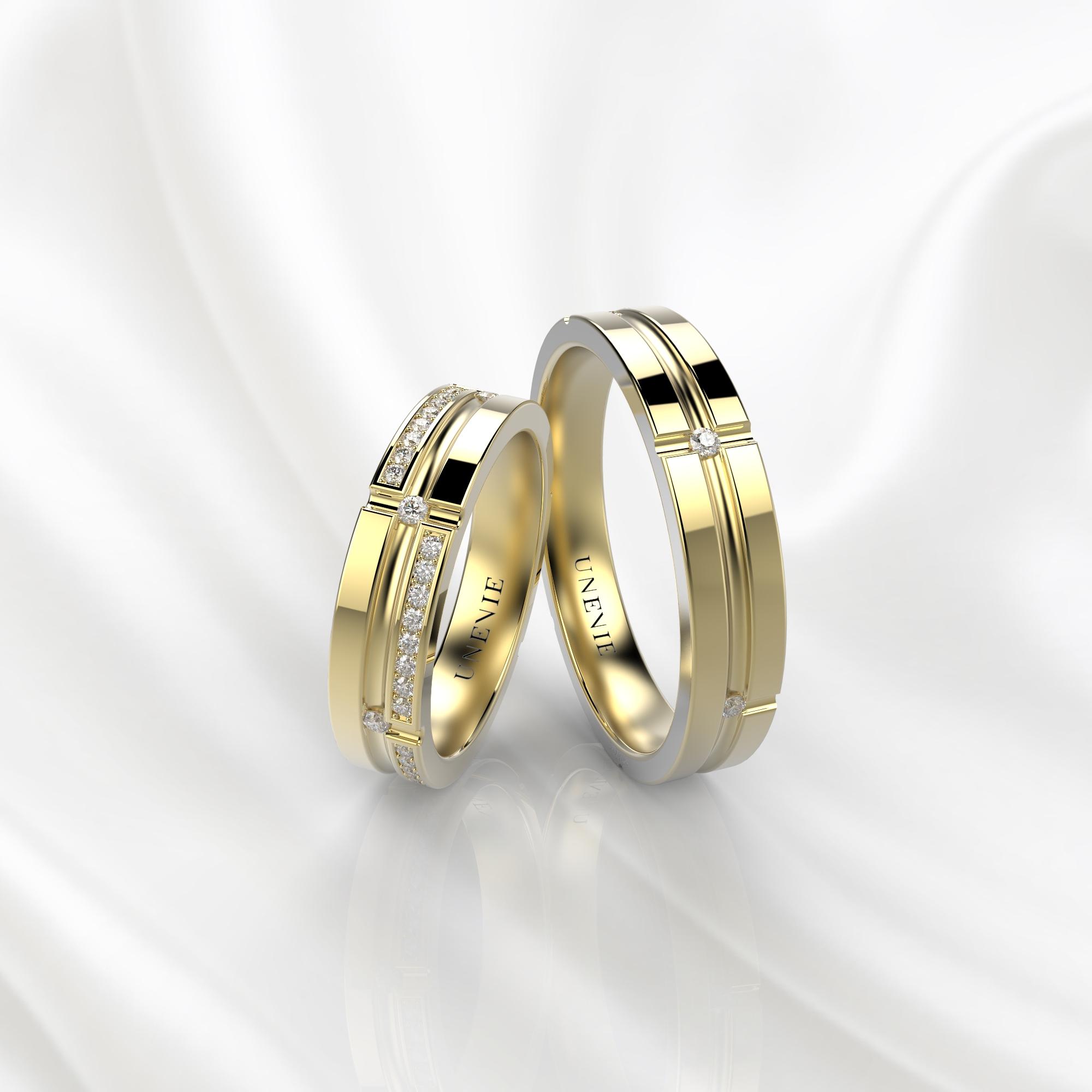 NV39 Обручальные кольца из желтого золота с бриллиантами