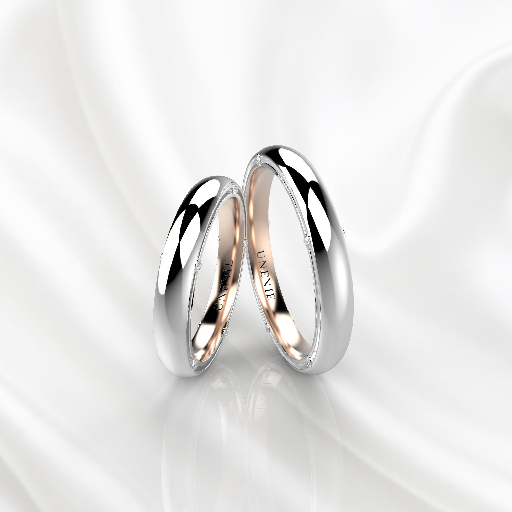 NV41 Обручальные кольца из бело-розового золота с бриллиантами