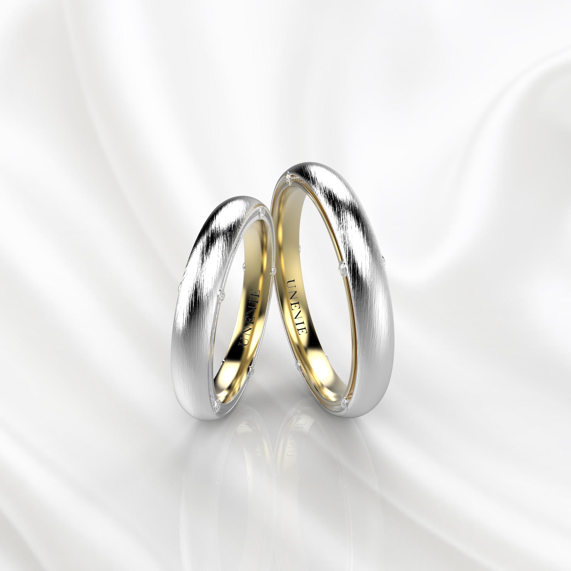 NV41 Обручальные кольца из бело-желтого золота с бриллиантами