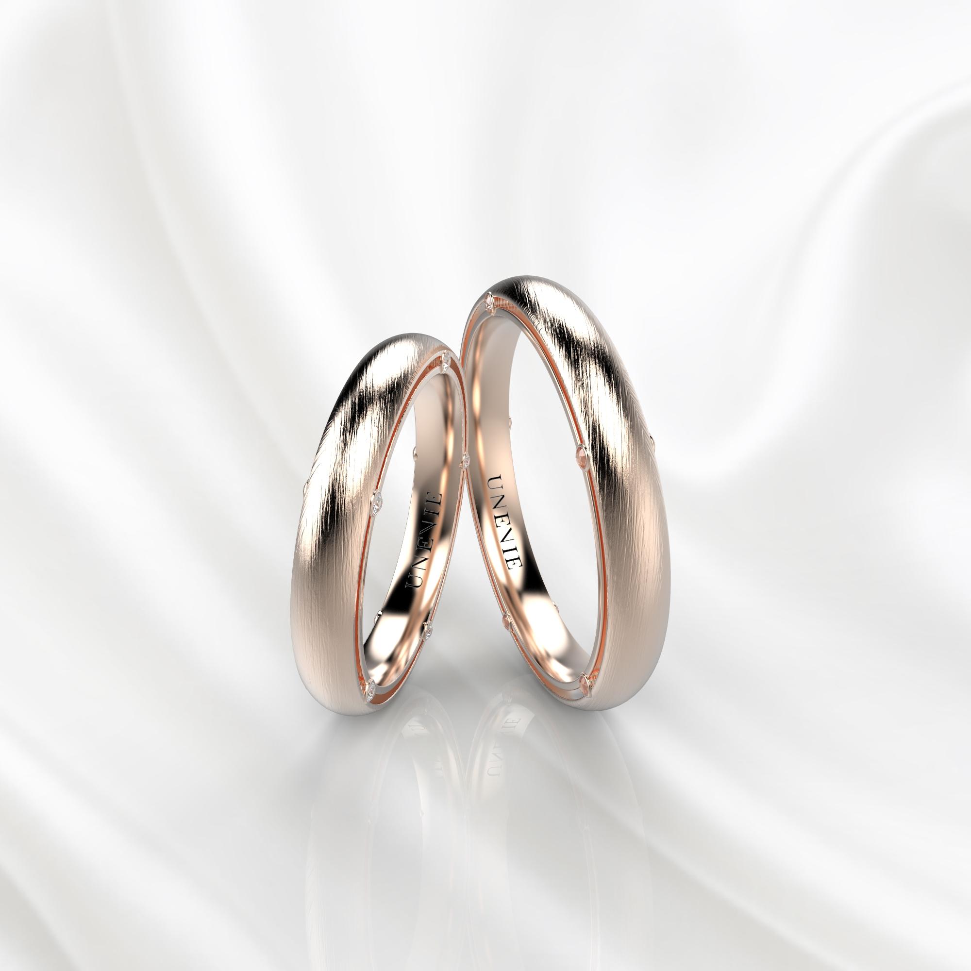 NV41 Обручальные кольца из розового золота с бриллиантами