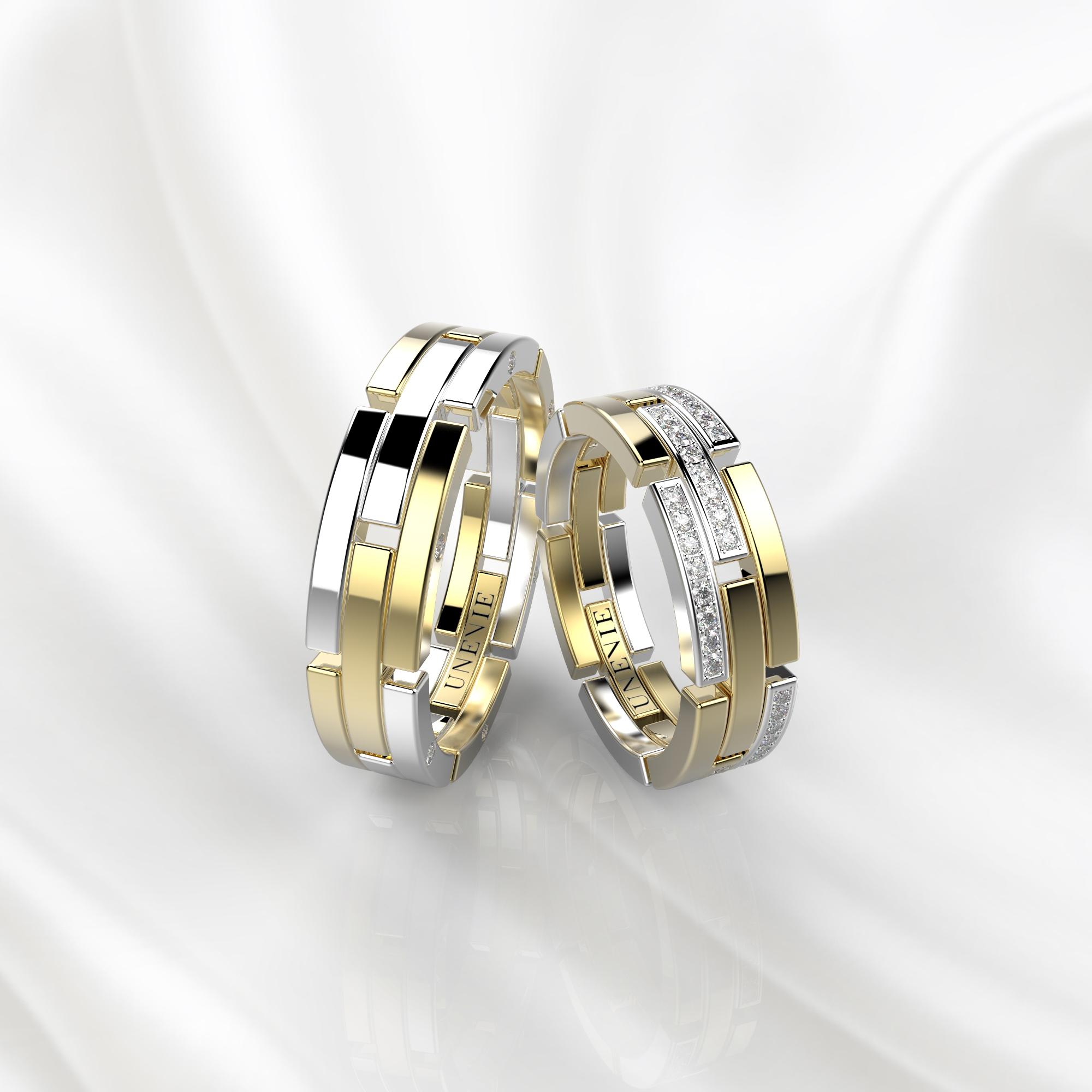NV42 Обручальные кольца из бело-желтого золота с бриллиантами