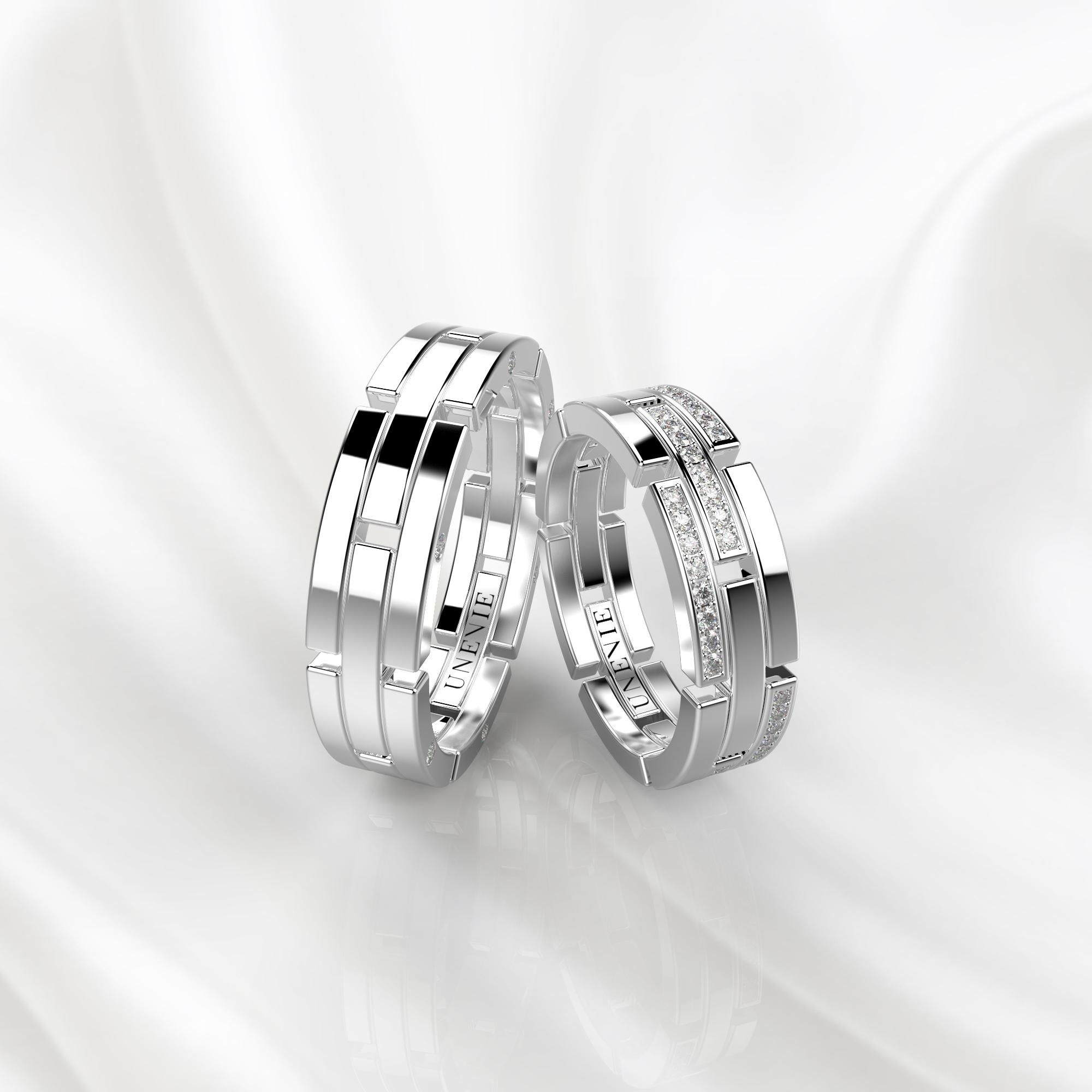 NV42 Обручальные кольца из белого золота с бриллиантами