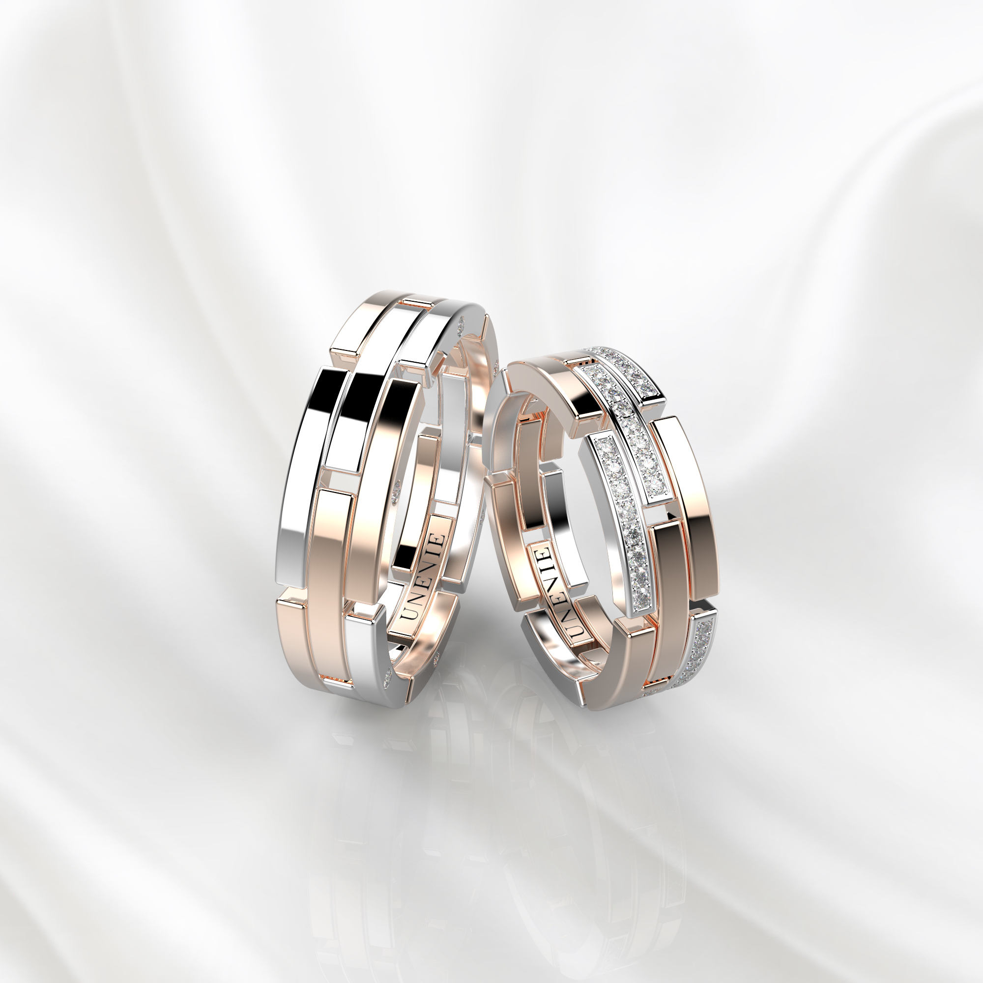 NV42 Обручальные кольца из розово-белого золота с бриллиантами